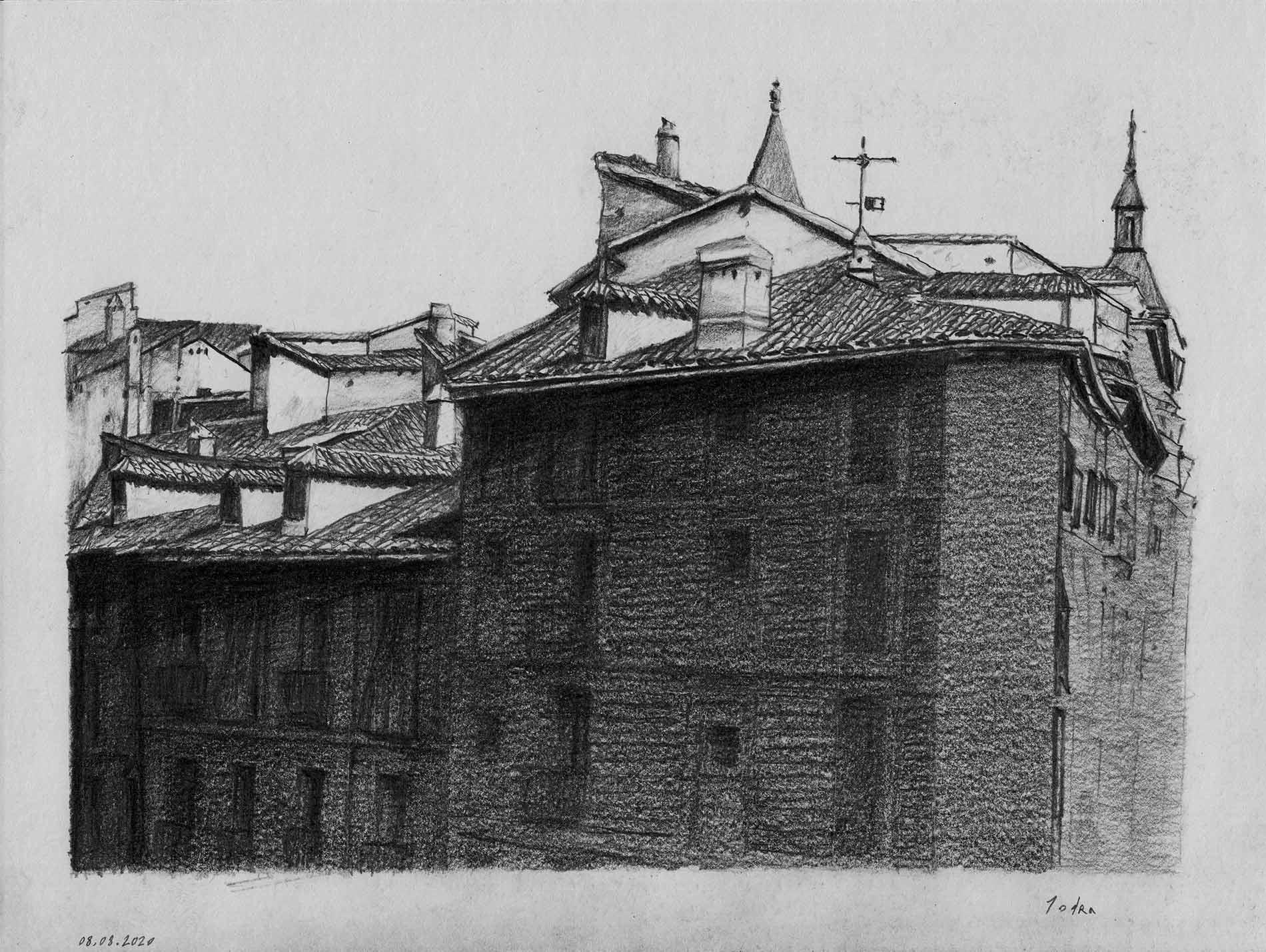 Puerta del Sol. Drawing. Pencil on paper. Mario Jodra 2020