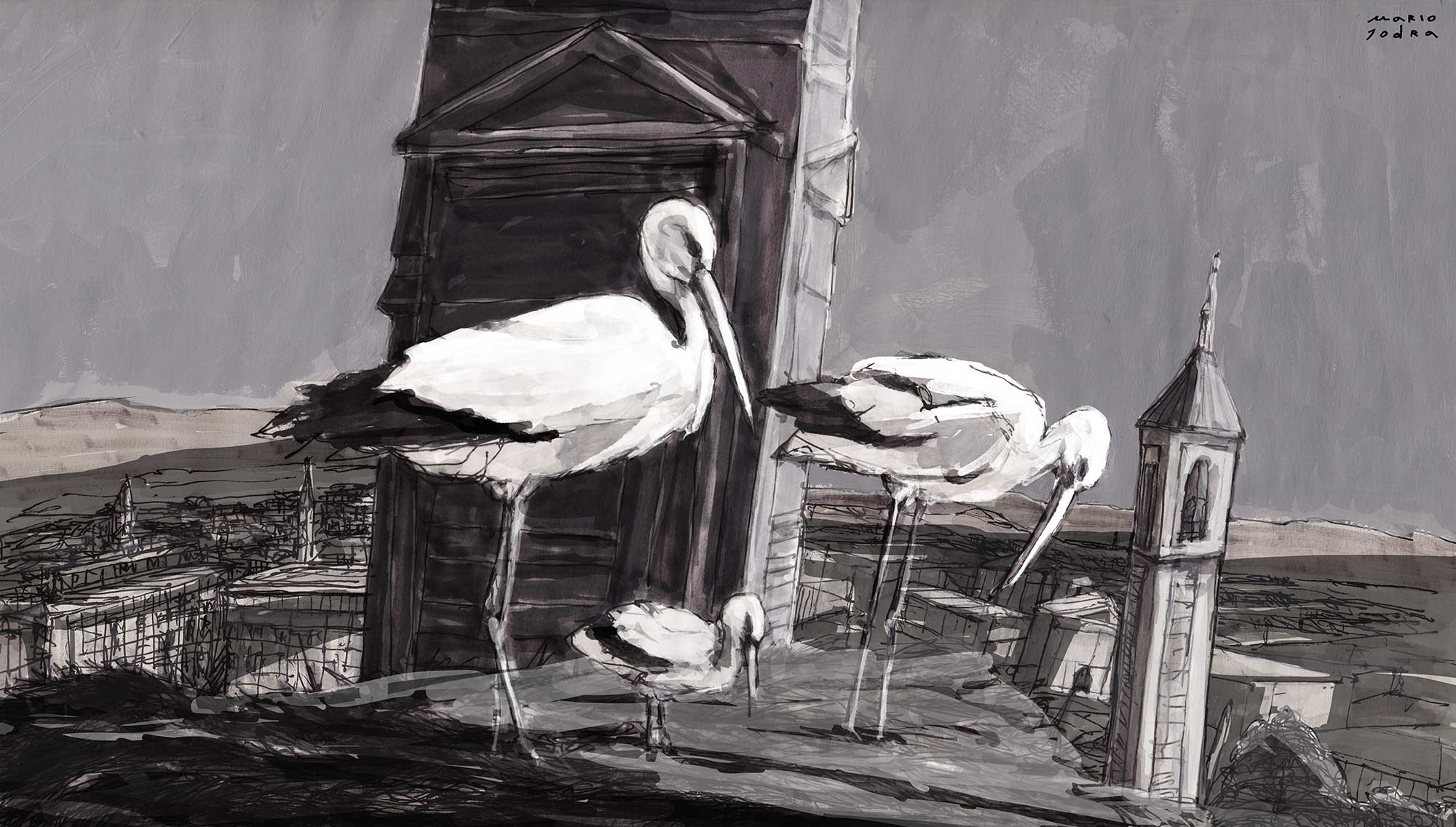 Mario Jodra illustration - White storks. Traditional Mixed Media & Digital