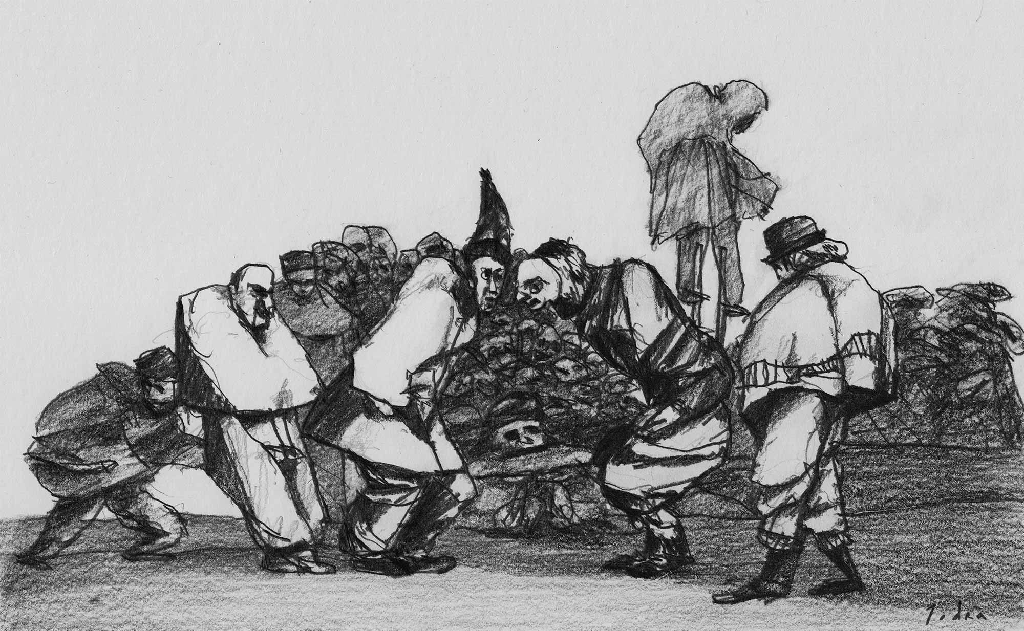 """Learning from Goya. """"Disparate de carnaval"""", after Goya. Disparate n.º 14. Drawing. Pencil on paper. Mario Jodra 2020"""
