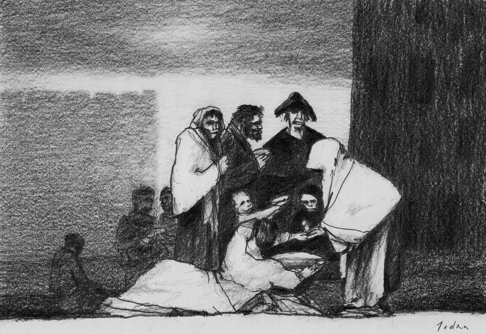 "Learning from Goya. ""Gracias a la almorta"", after Goya. Drawing. Pencil on paper. Mario Jodra 2020"
