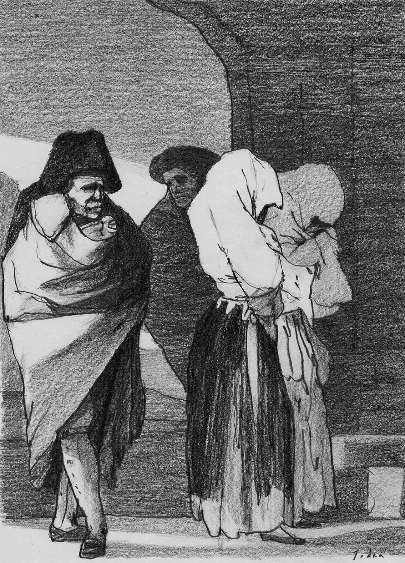 "Learning from Goya. ""Pobrecitas"", after Goya. Disparates n.º 22. Drawing. Pencil on paper. Mario Jodra 2020"