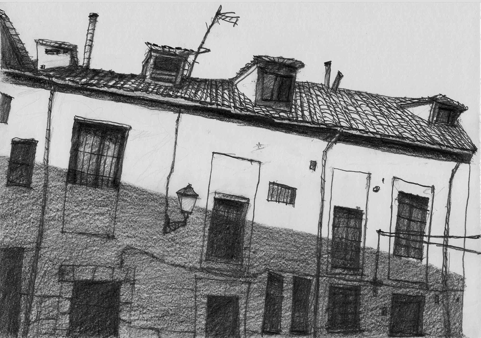 Roofs. Drawing. Pencil on paper. Mario Jodra 2020