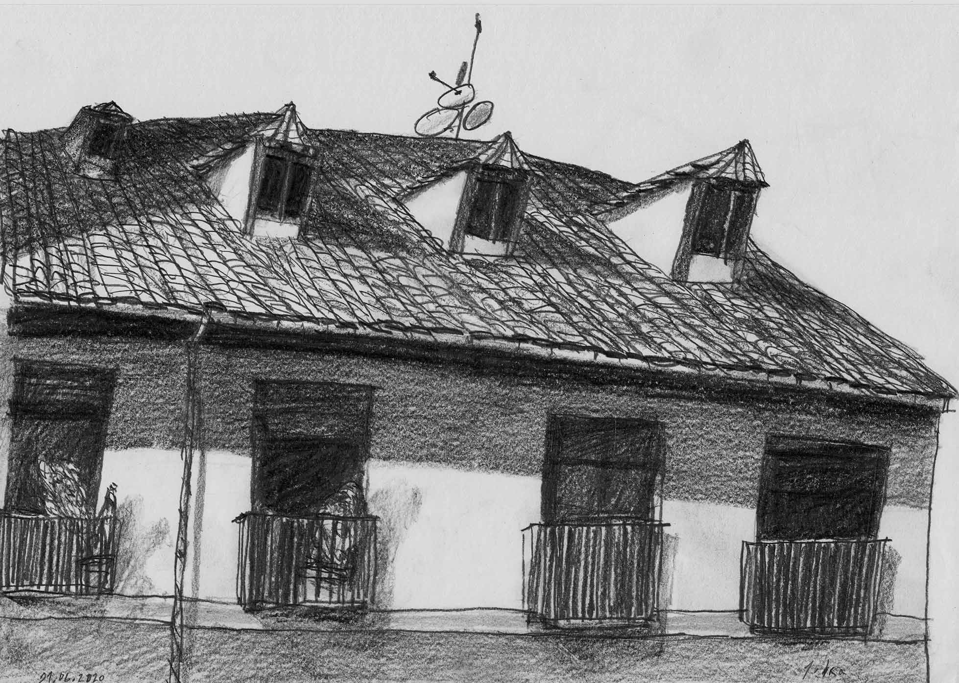 Roofs. Drawing. Pencil on paper. Mario Jodra 2020