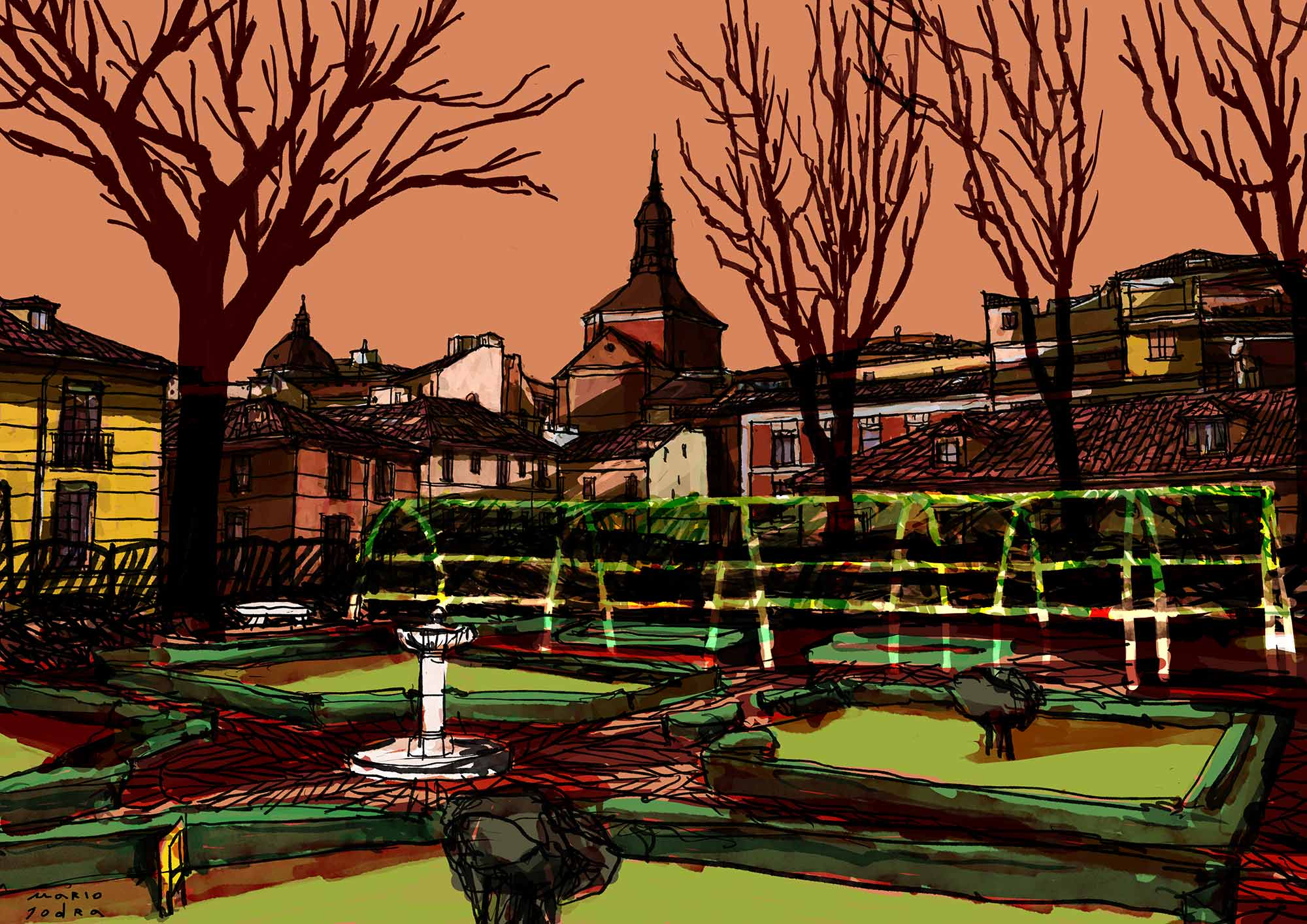Mario Jodra illustration - Winter sunset at Prince of Anglona Garden - Atardecer de invierno en el jardín del Príncipe de Anglona, Madrid.
