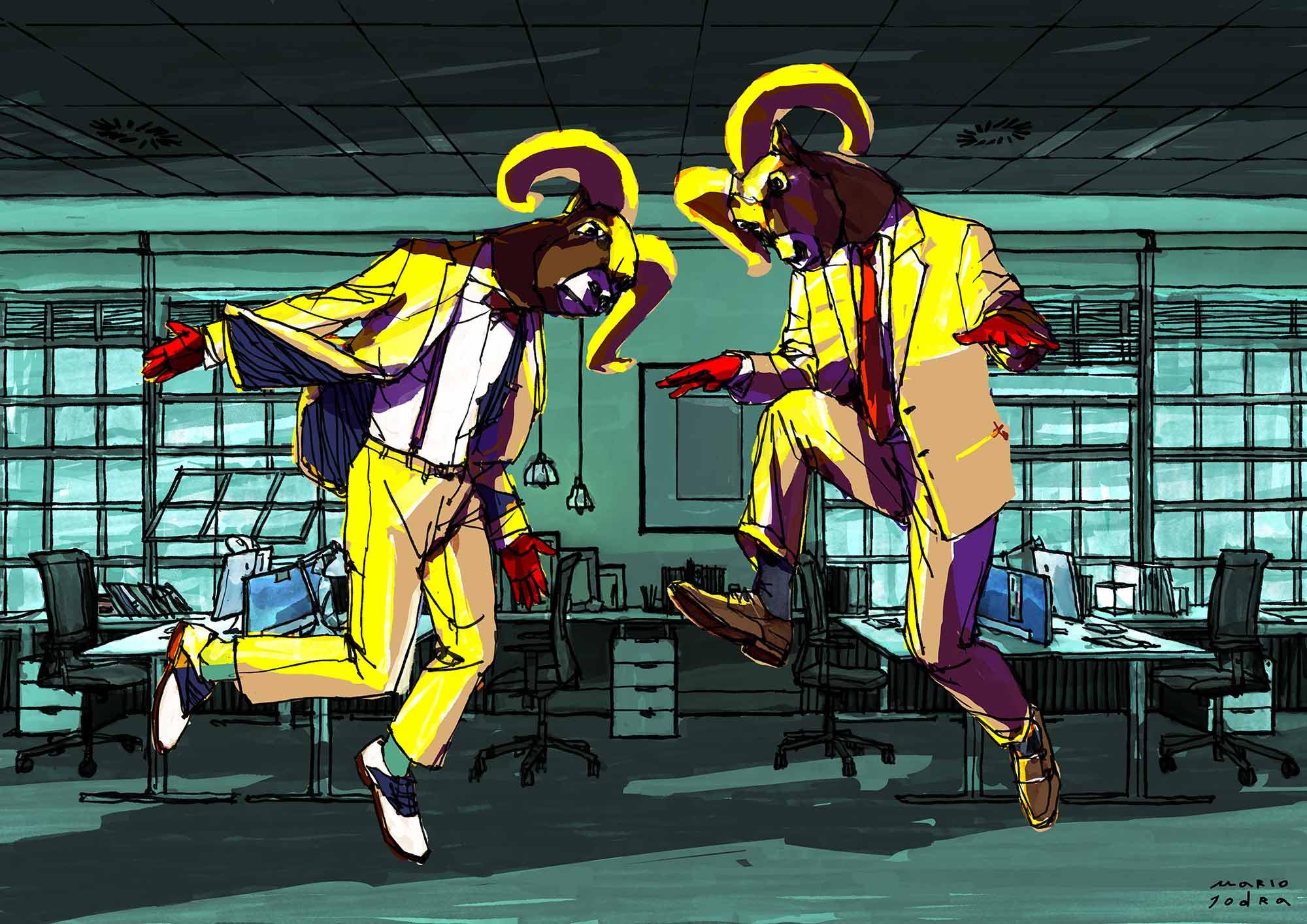 Mario Jodra illustration ilustración - Duelo de Cabrones