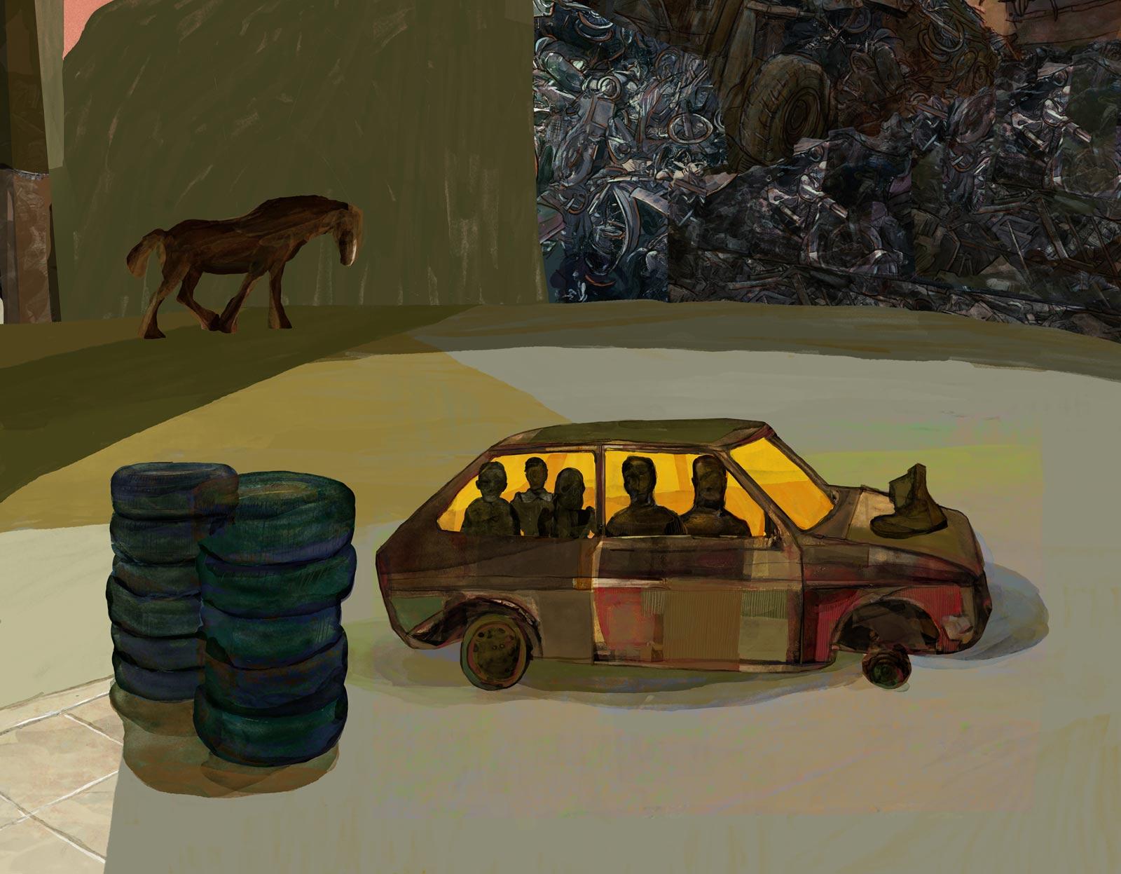 """""""Cementerio de Automóviles"""" (The Automobile Graveyard. Le cimetière des voitures) de Fernando Arrabal. Mario Jodra illustration"""