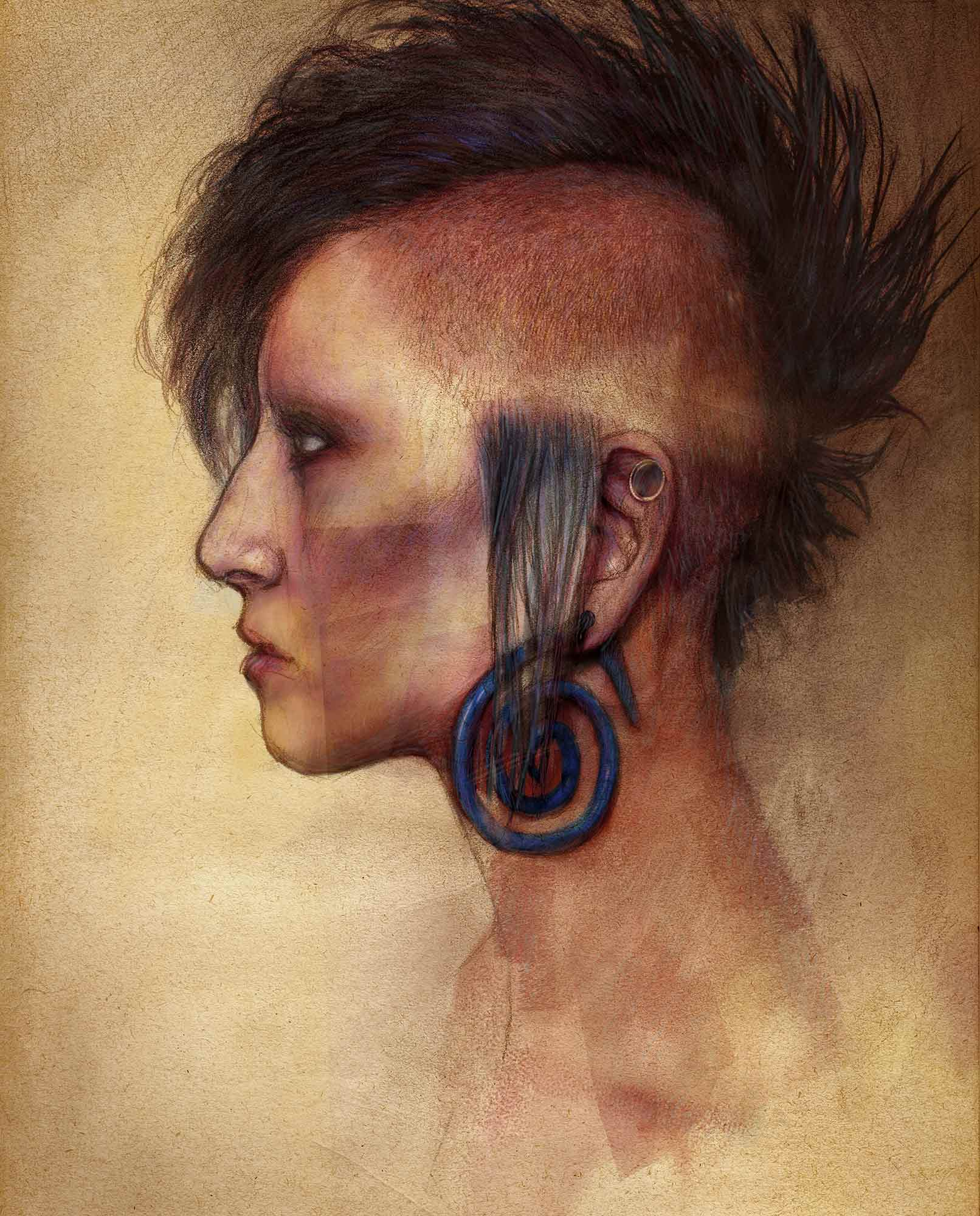 Mario Jodra. Punk head with mohican hair cut