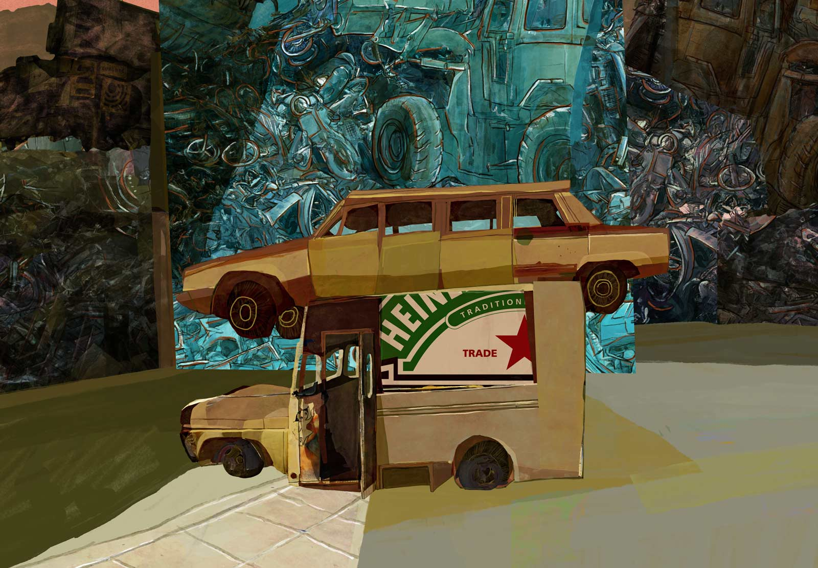 """Mario Jodra illustration Art - The Automobile Graveyard (""""Cementerio de Automóviles"""", """"Le cimetière des voitures"""") by Fernando Arrabal"""