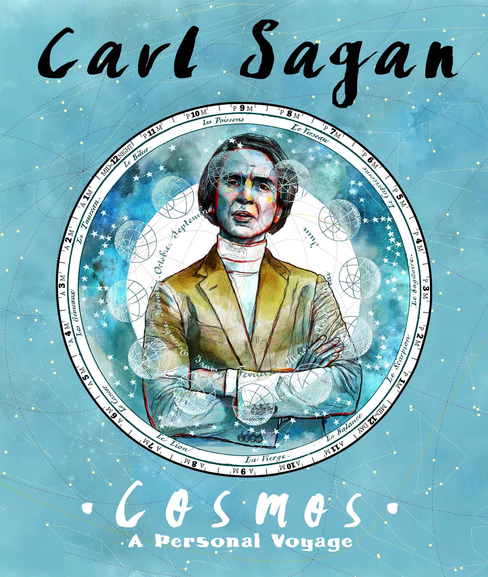 Mario Jodra illustration Art - Carl Sagan Portrait