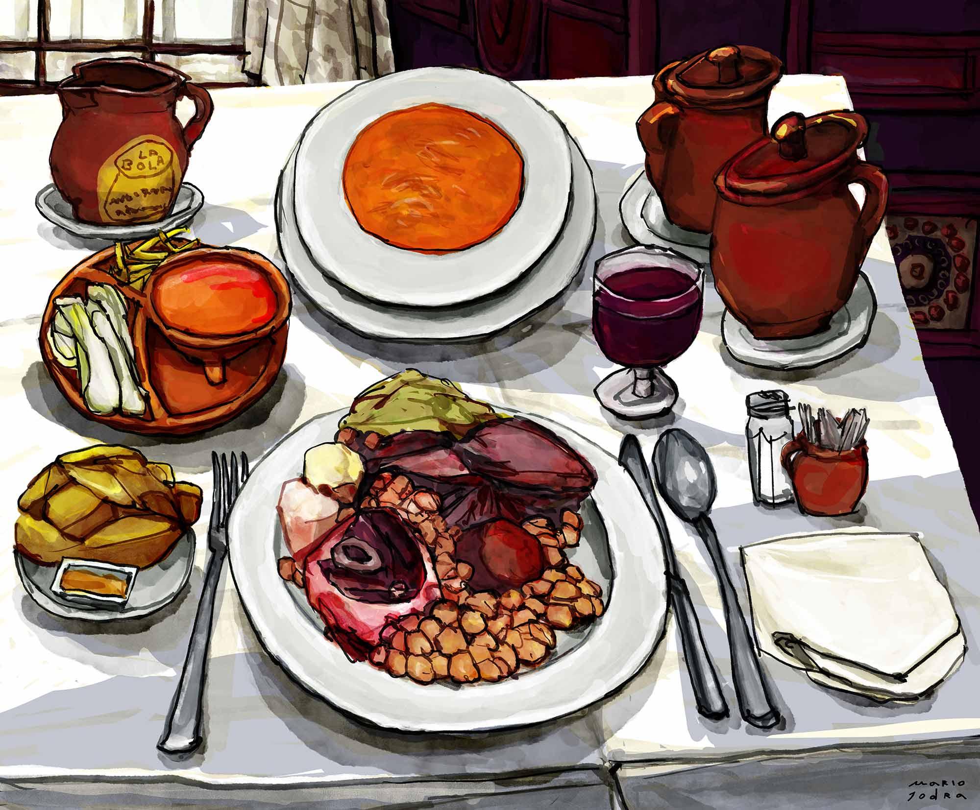Mario Jodra illustration - Cocido Madrileño at La Bola restaurant