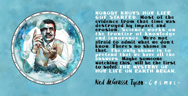 Mario Jodra illustration - Cosmos: Carl Sagan and Neil deGrasse Tyson