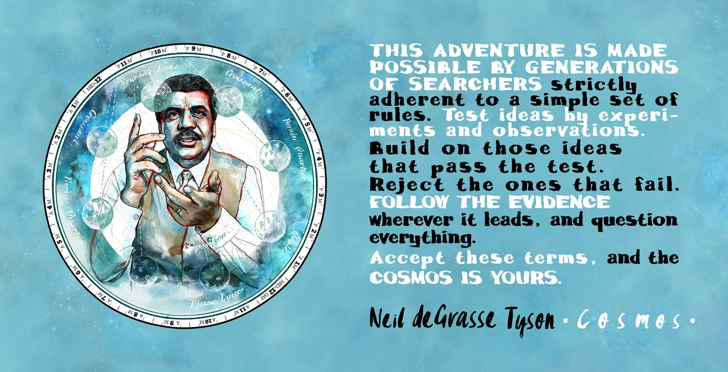 Mario Jodra illustration - Cosmos: Carl Sagan and Neil deGrasse Tyson