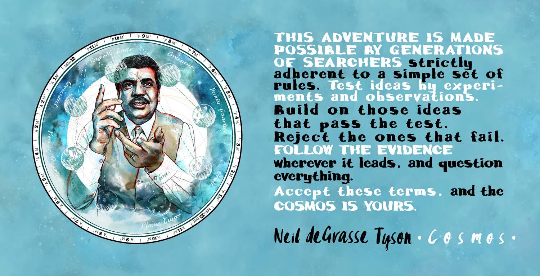 Mario Jodra illustration Art - Cosmos: Carl Sagan and Neil deGrasse Tyson