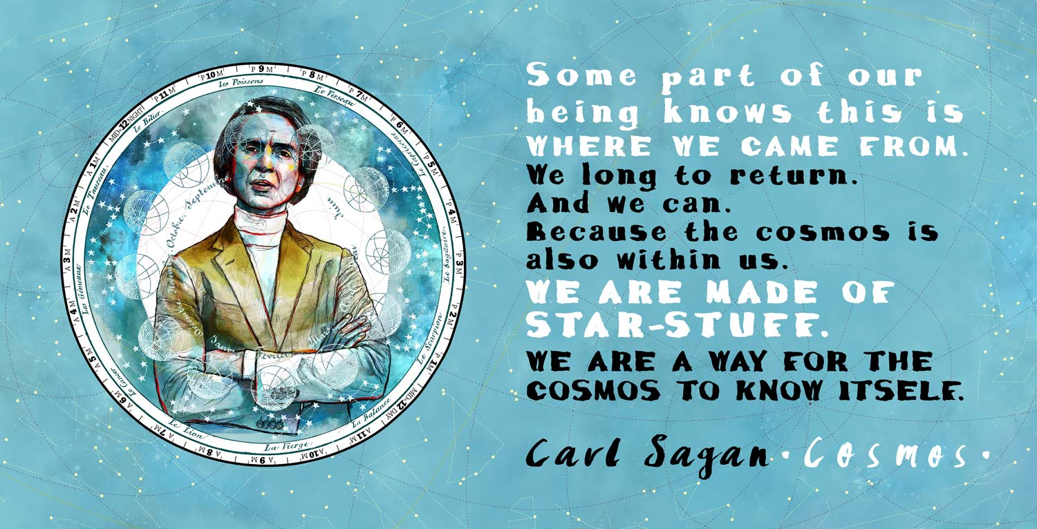 Mario Jodra illustration - Cosmos: Carl Sagan and Neil deGrasse Tyson Quotes