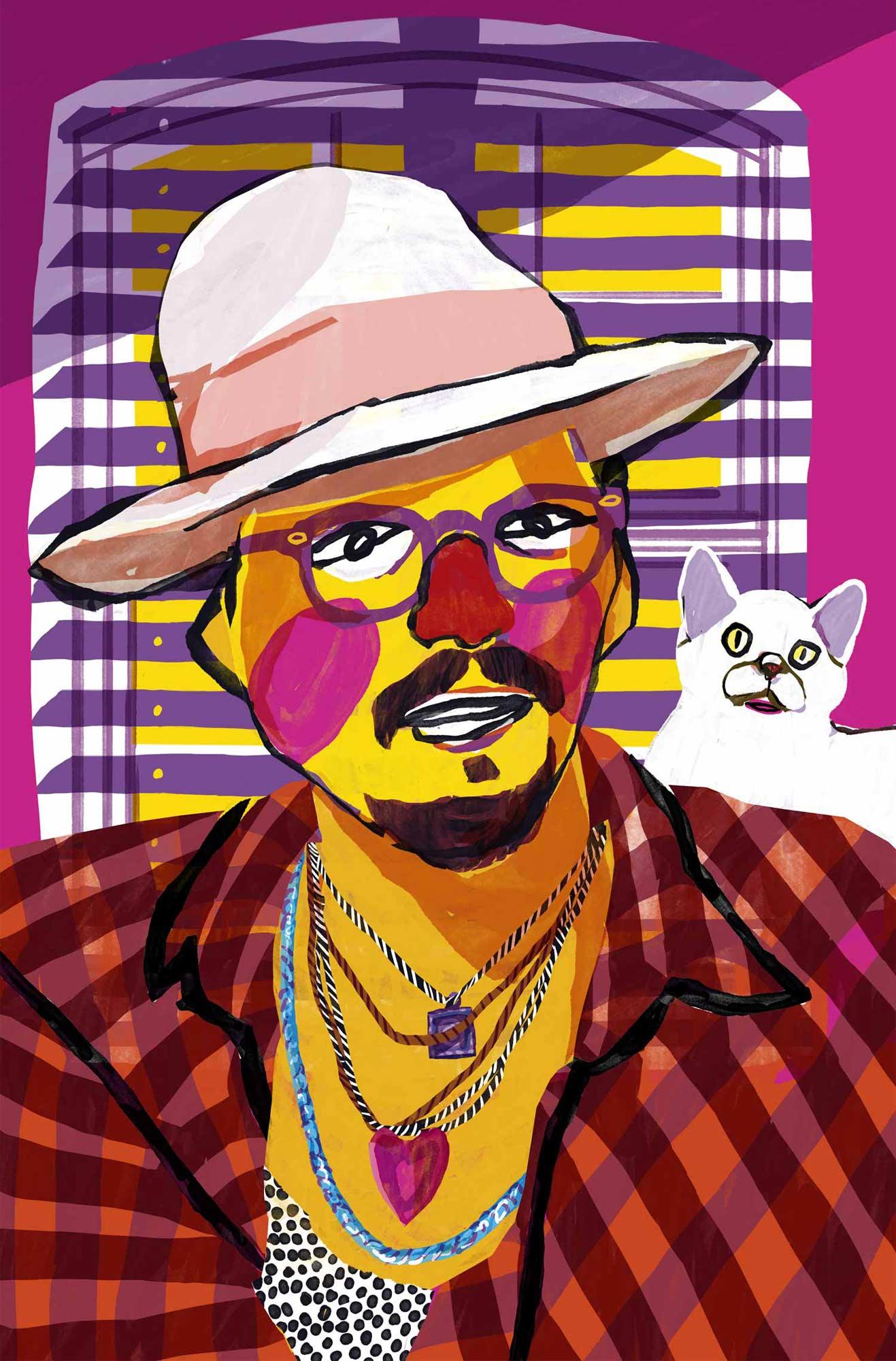 Mario Jodra illustration Art - Johnny Goatee wearing a hat and a cat