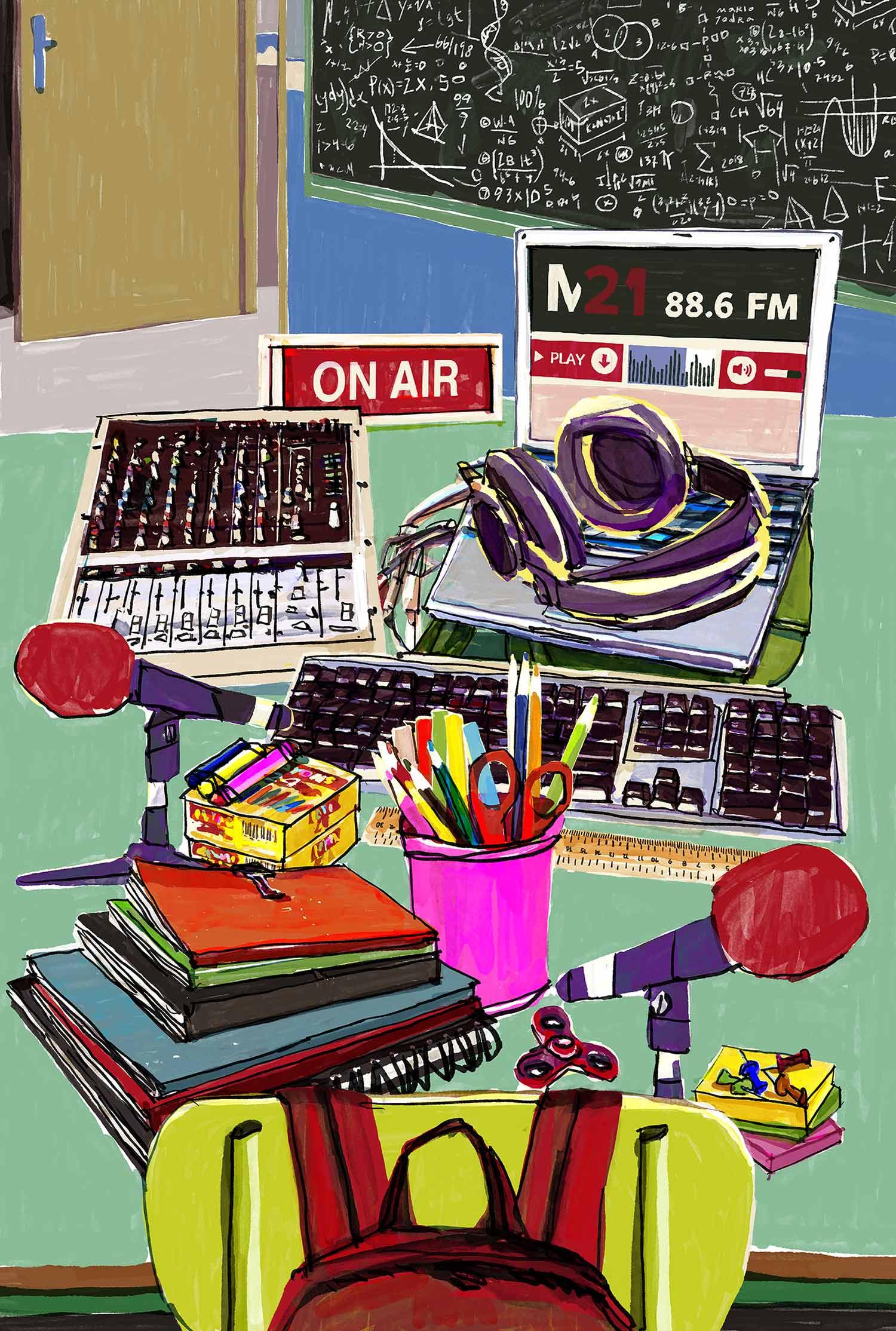 """Mario Jodra illustration - Illustration for M21 Magazine article – Ilustración para el artículo """"RadioActividad en las aulas para cambiar el mundo"""" de M21 Magazine, número 18."""
