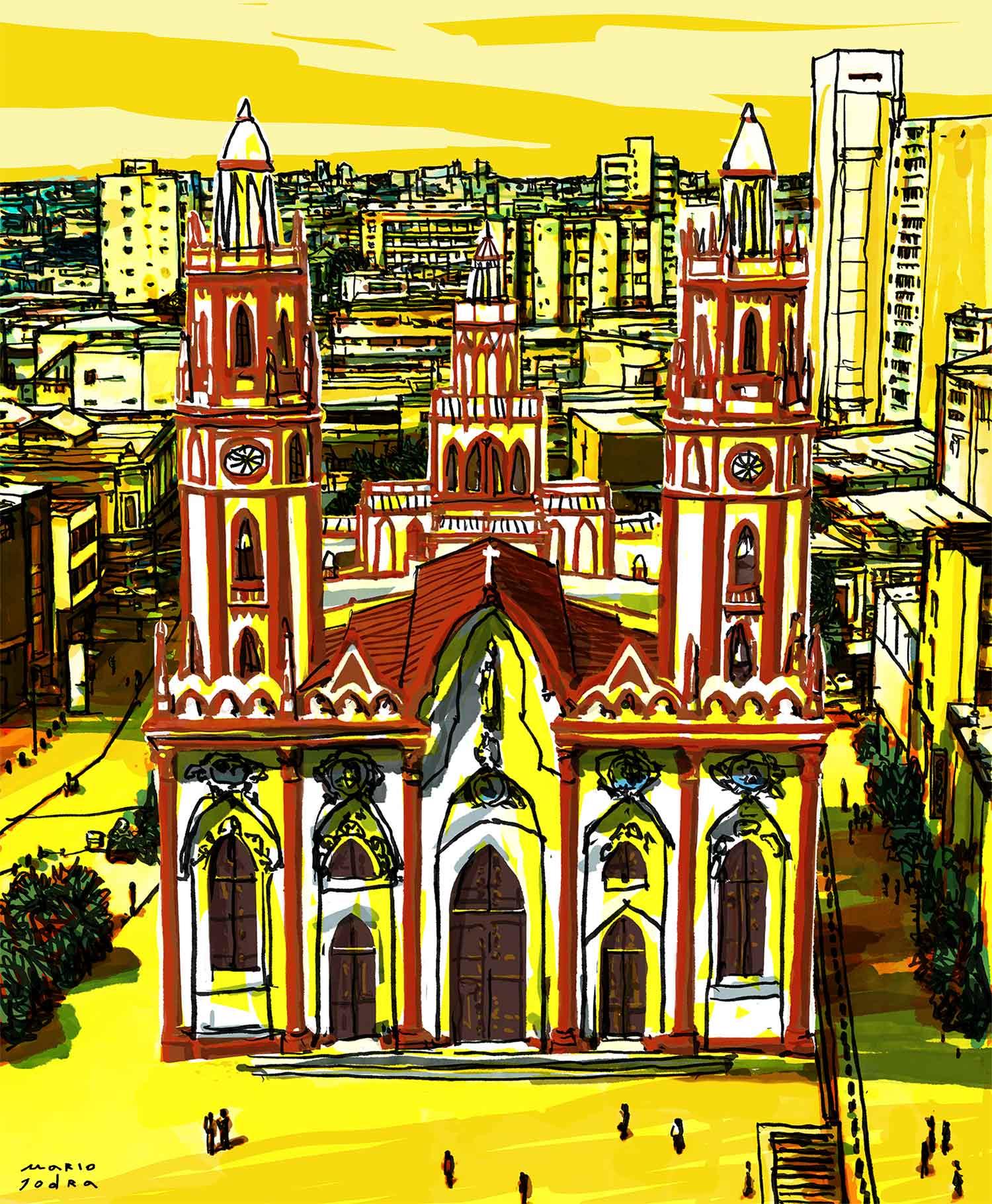 Mario Jodra illustration - Saint Nicholas of Tolentino Church, Barranquilla (Colombia). Cover illustration for Grupo Semana, Colombia.