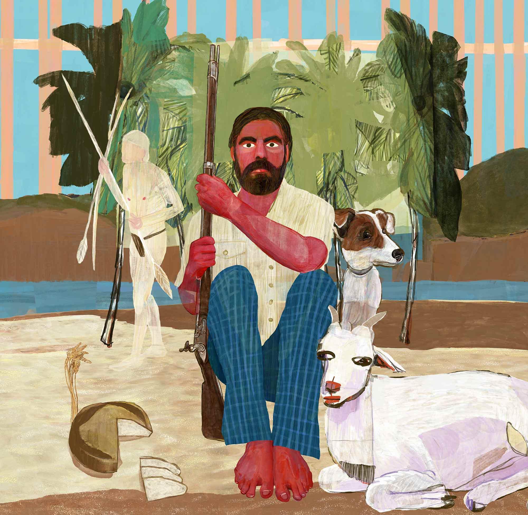 Mario Jodra illustration Art - The life and adventures of Robinson Crusoe by Daniel Defoe.