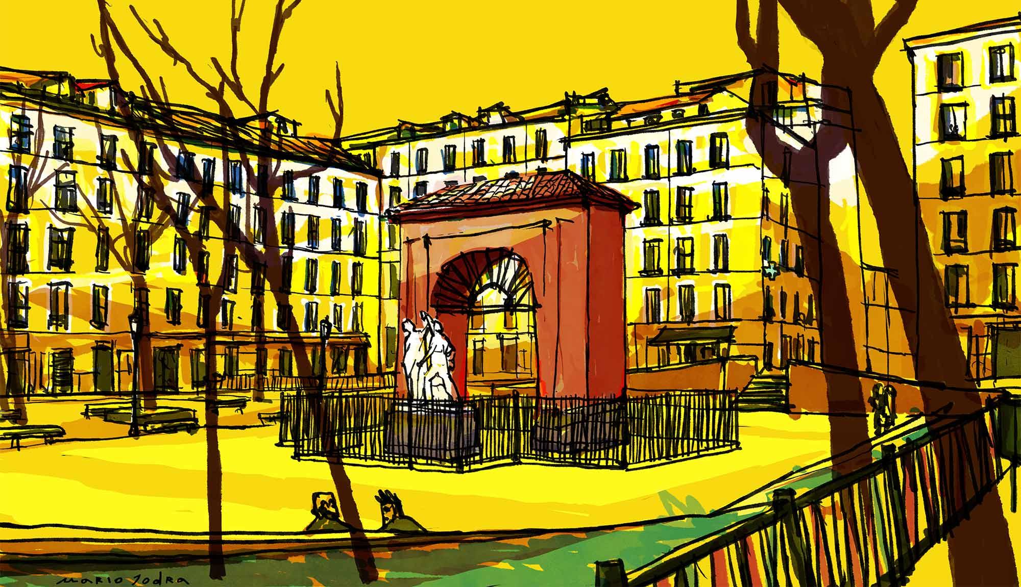 Mario Jodra illustration - Plaza del Dos de Mayo, Madrid.