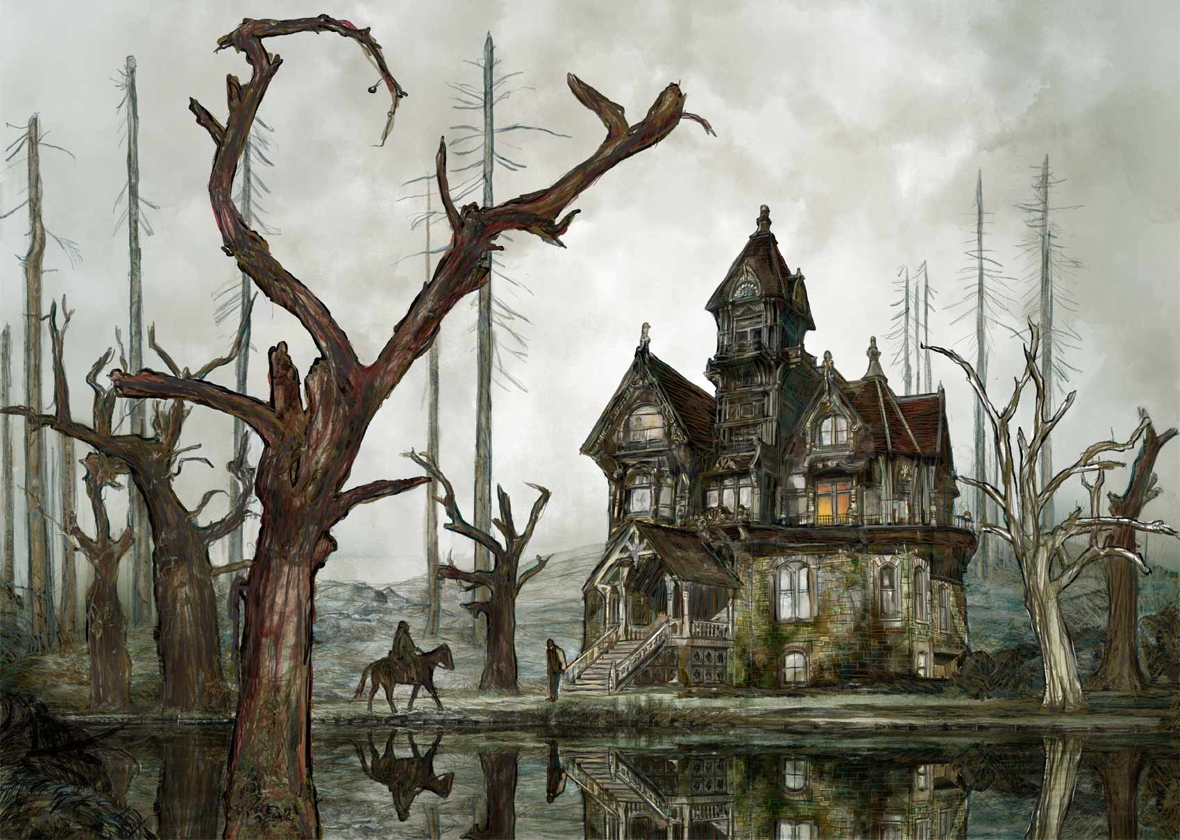 Mario Jodra illustration - The Fall of the House of Usher by Edgar Allan Poe.