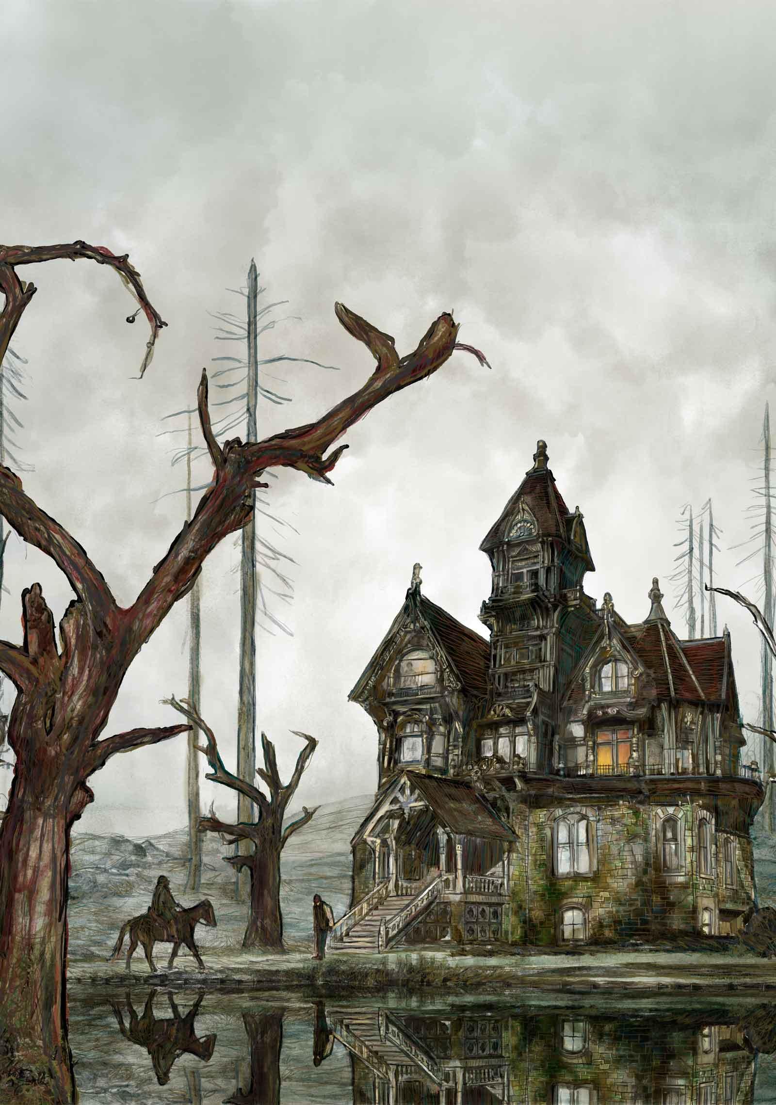 Mario Jodra illustration - Detail of illustration. The Fall of the House of Usher by Edgar Allan Poe.
