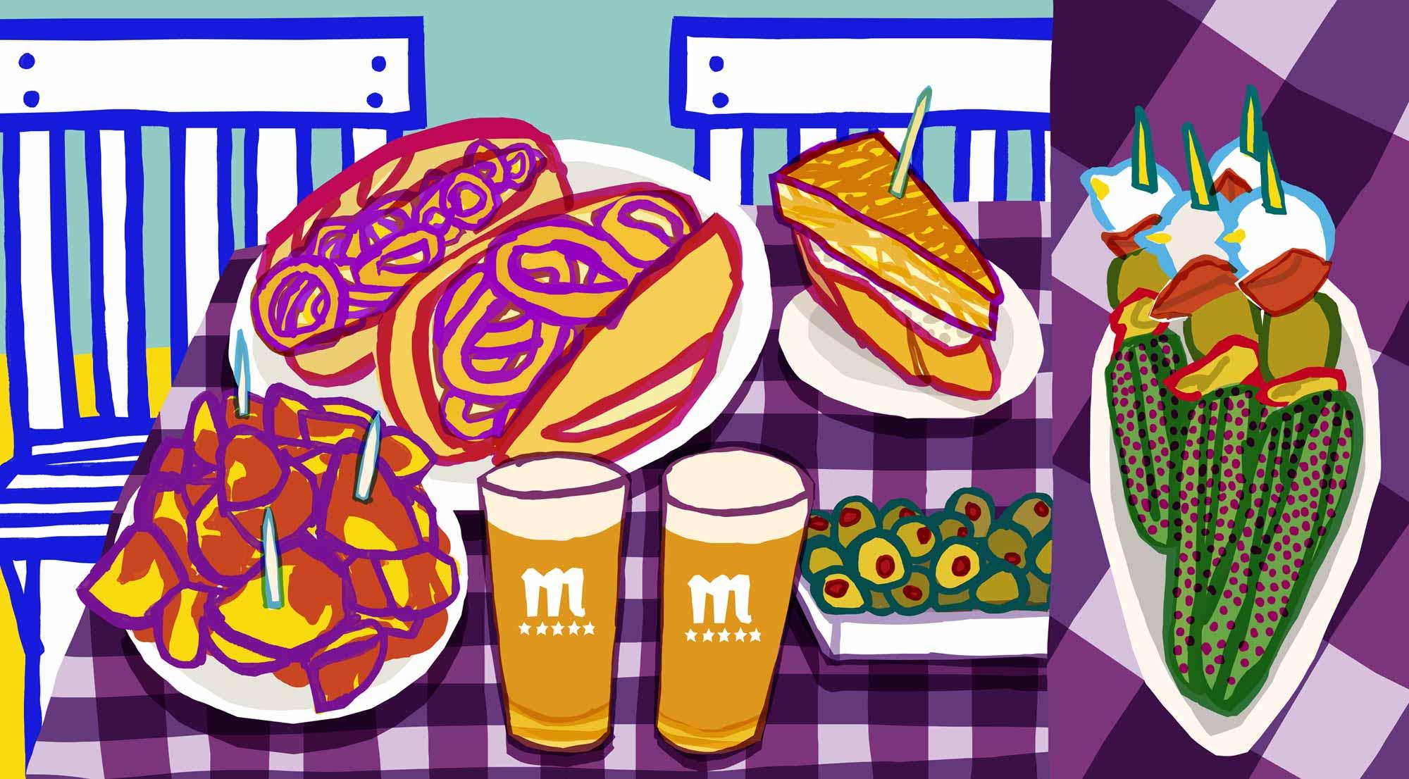 Mario Jodra Art - Bocadillos de calamares, encurtidos, tapas de Madrid y dos cañas de Mahou.