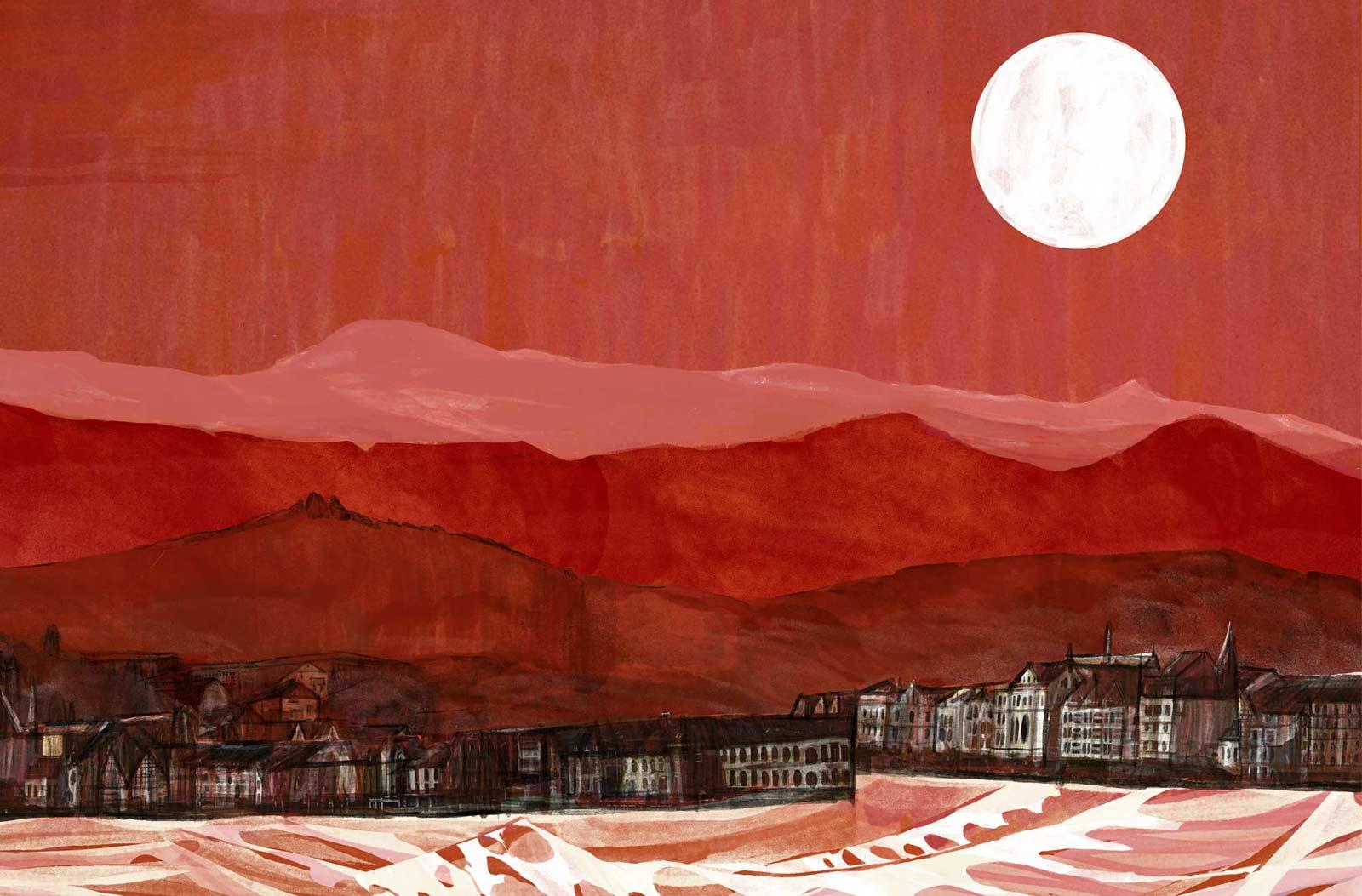 Mario Jodra illustration - Wahlheim (based on Garbenheim, near Wetzlar). Landscape detail II