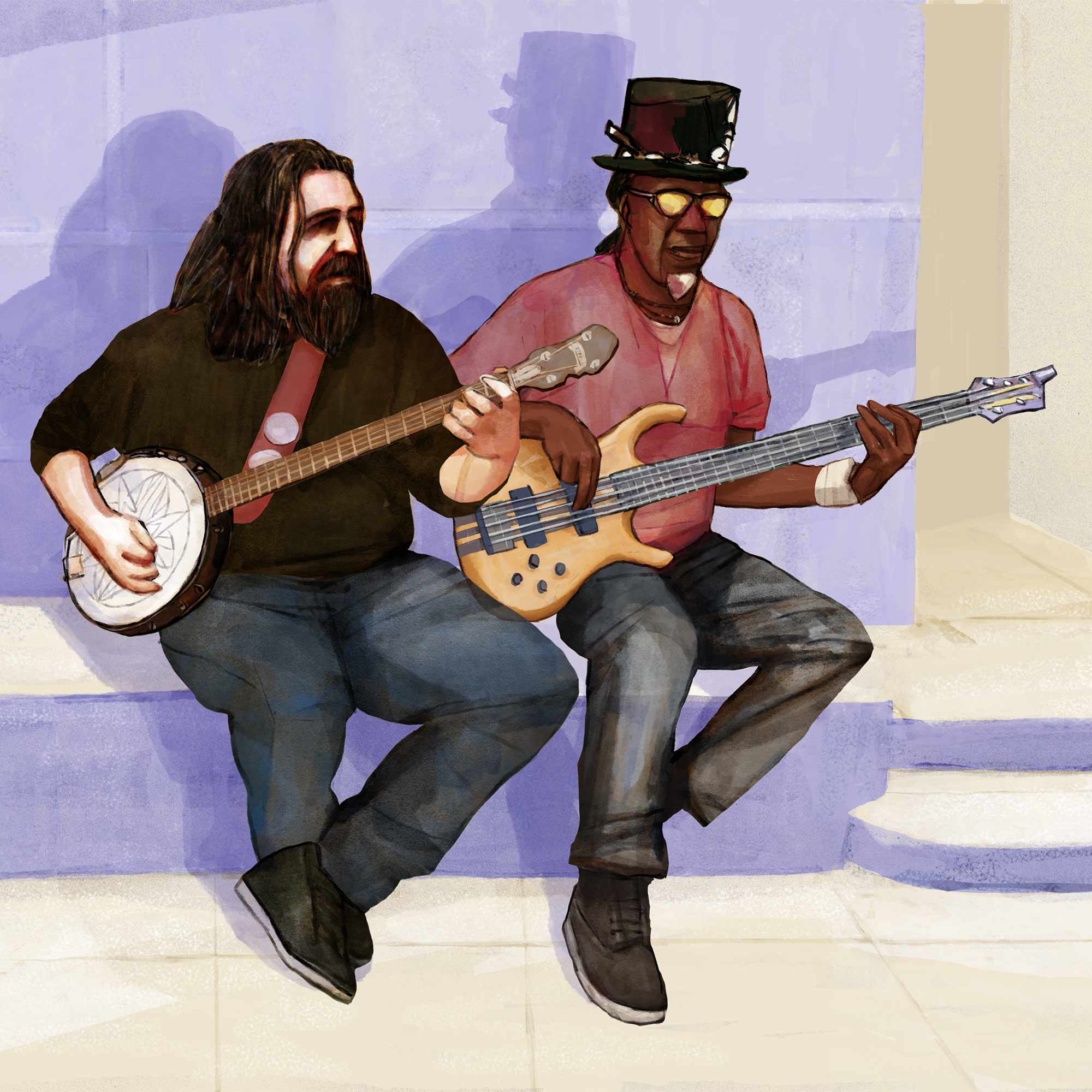 Mario Jodra illustration - Two musicians