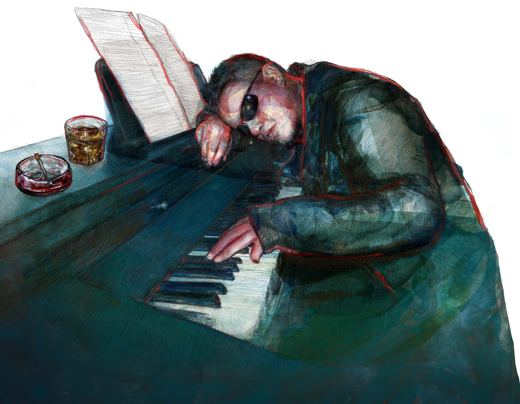 Mario Jodra illustration - The pianist