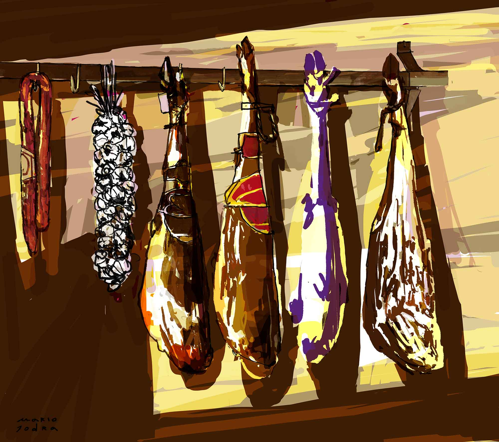 Mario Jodra illustration - Hanging ham
