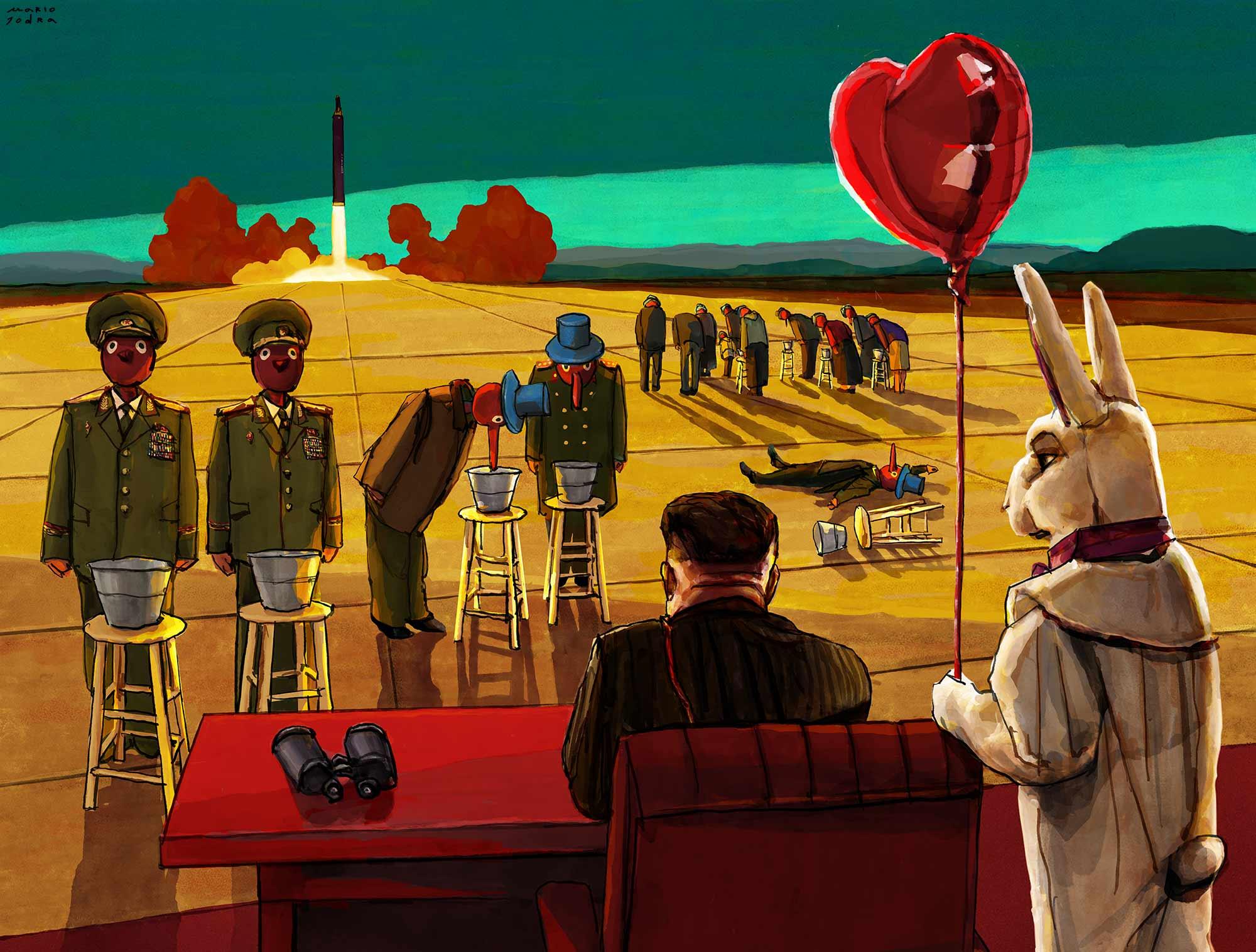 Mario Jodra illustration - La Norcoreana (North Korea: A true Dystopia)