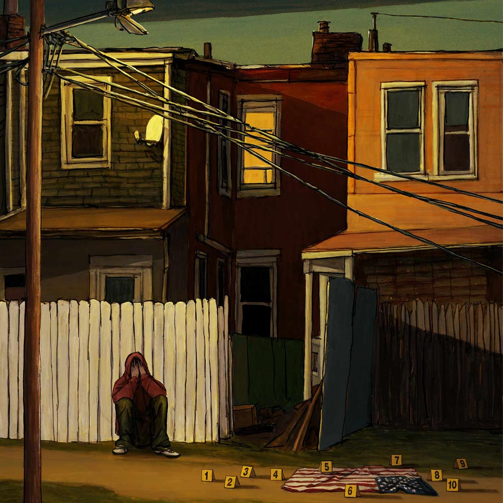 Mario Jodra illustration Art - Book Cover Art - Another day in the death of America, Gary Younge
