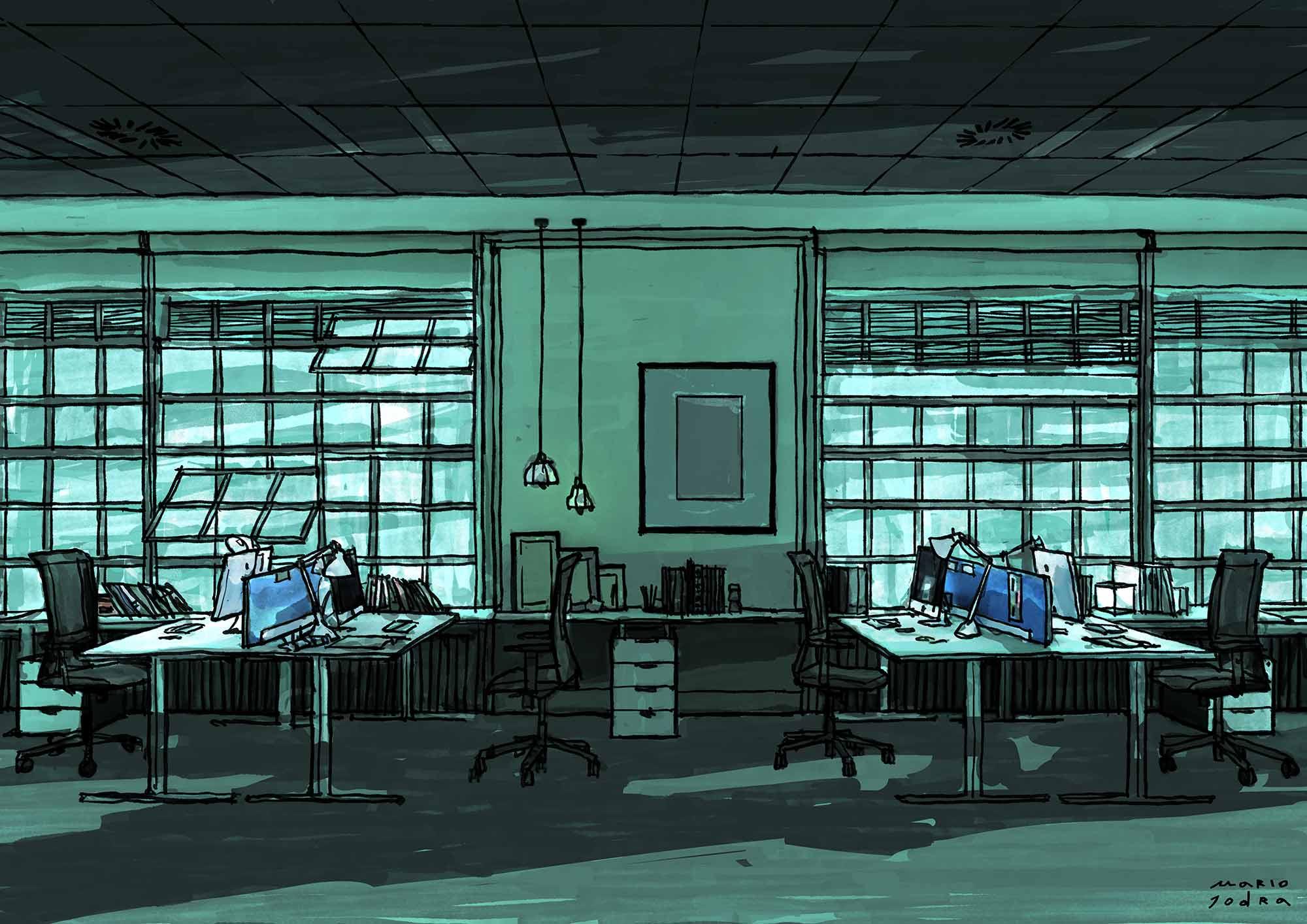Mario Jodra illustration - Office view