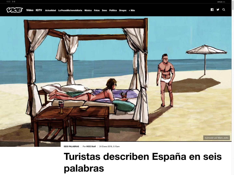 Mario Jodra illustration - Vice Magazine España. Tourists on the beach in the sun of Spain