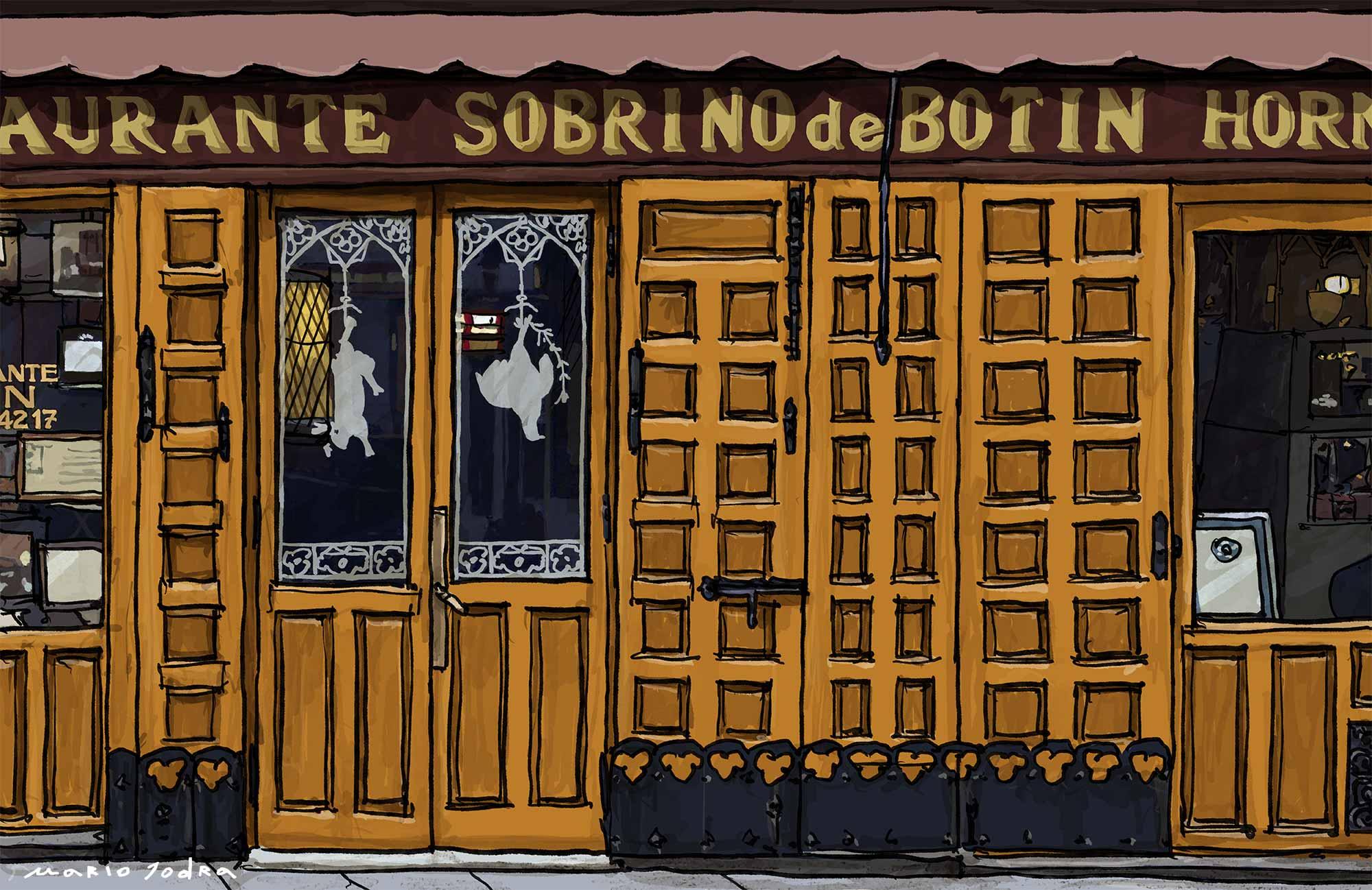 Mario Jodra illustration Art - Sobrino de Botín. Madrid restaurants. Since 1725