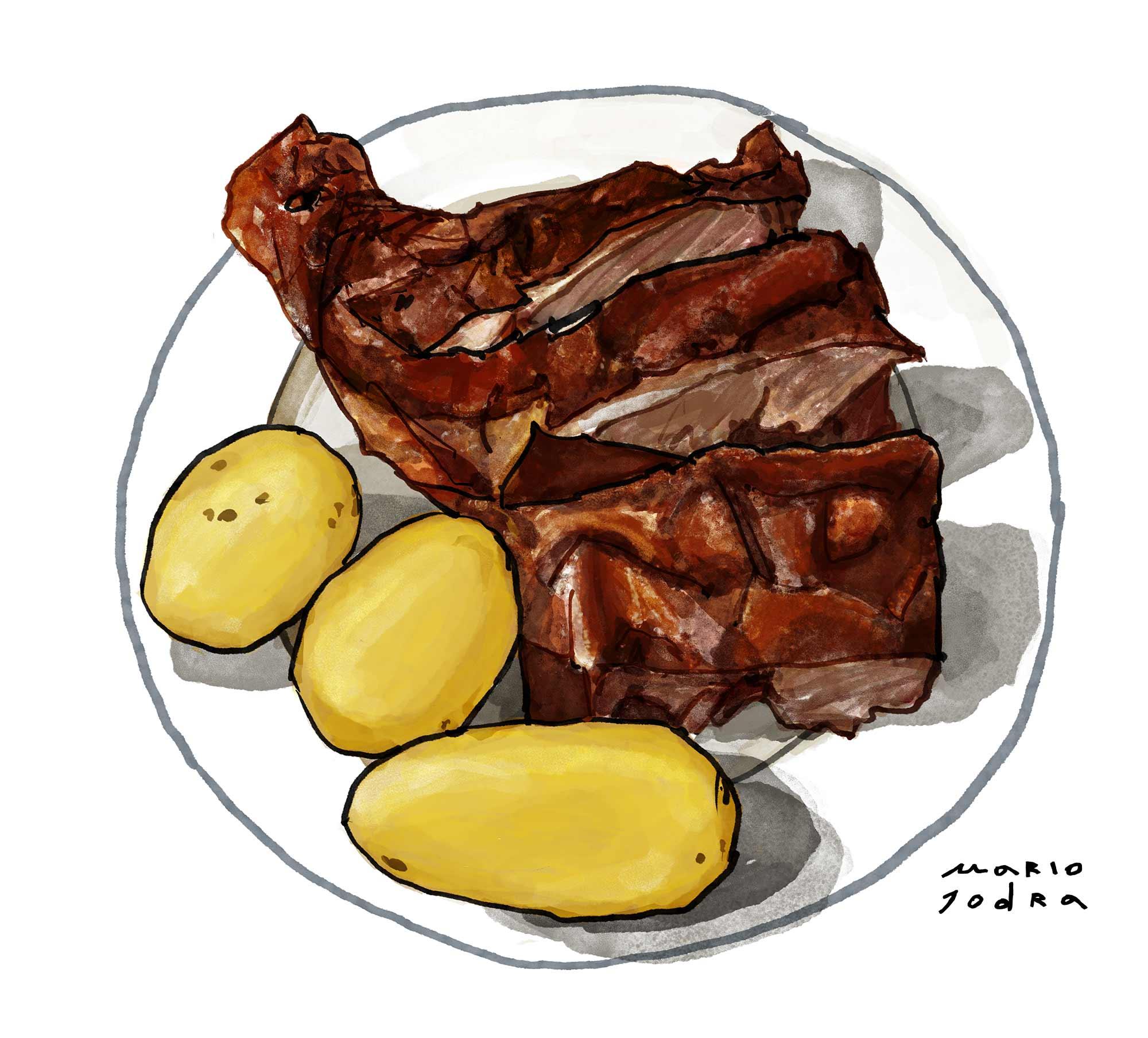 Mario Jodra illustration Art - Sobrinos de Botín: Asado con patatas