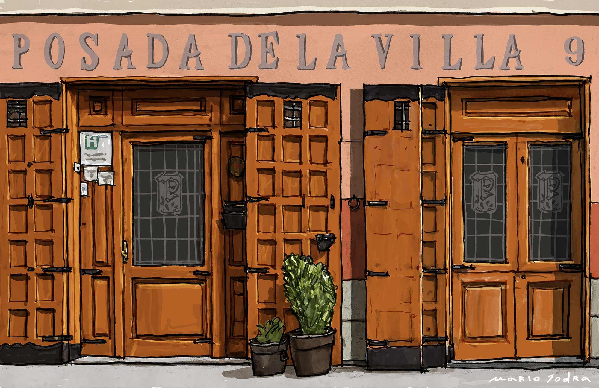 Mario Jodra illustration Art - Posada de la Villa. Madrid restaurant. Since 1642