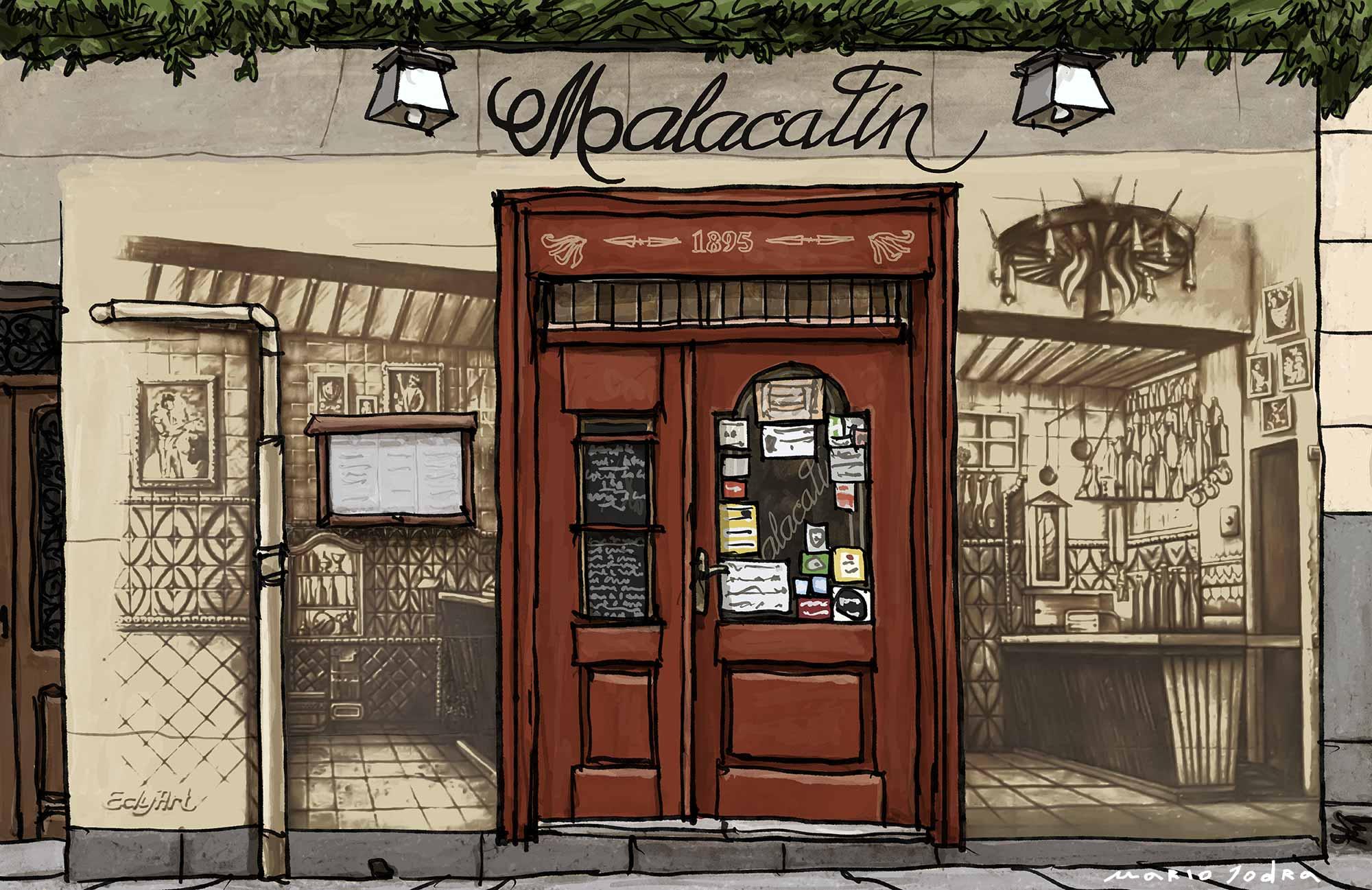 Mario Jodra illustration Art - Malacatín. Madrid restaurants. Since 1895