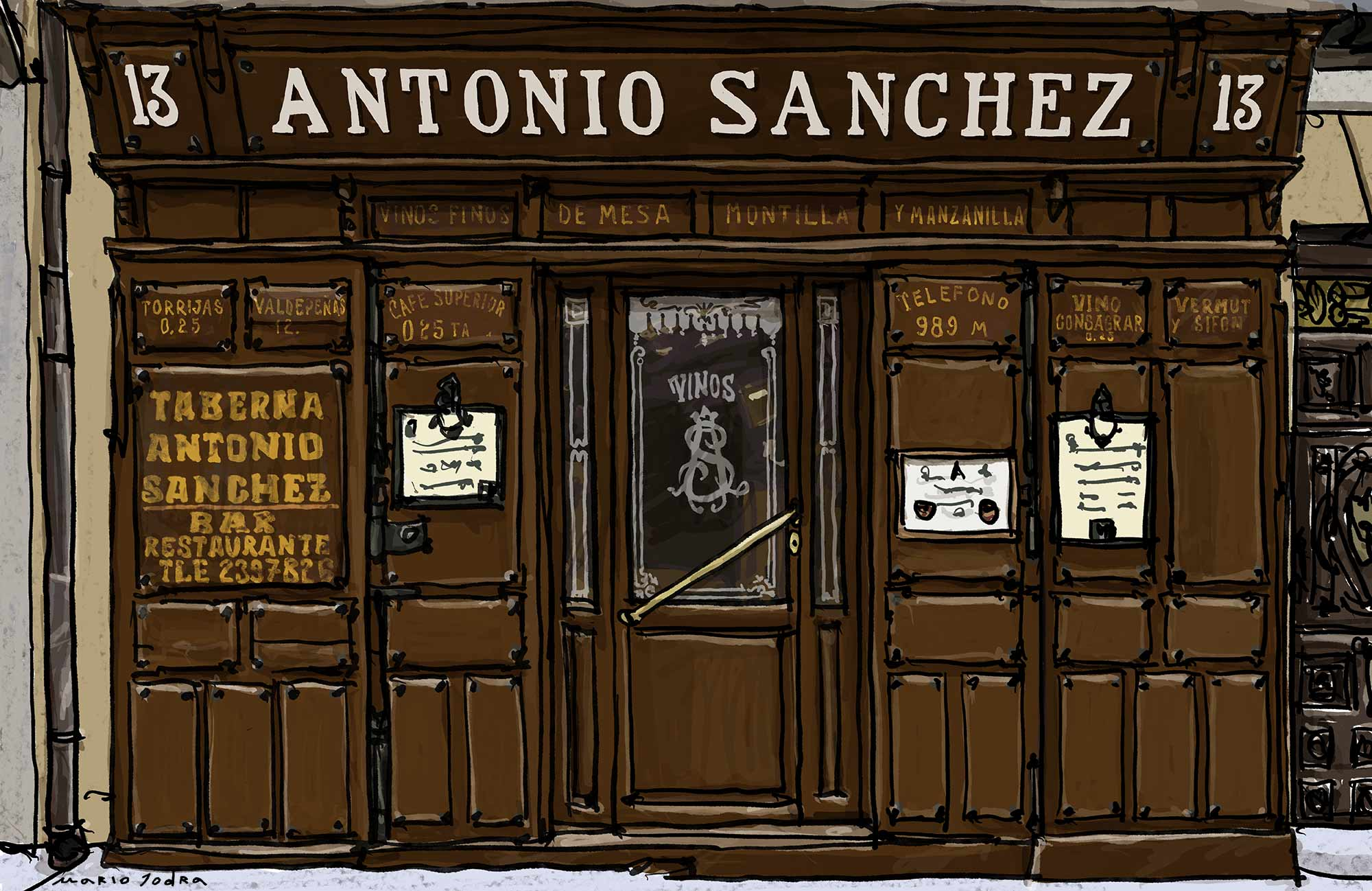 Mario Jodra illustration Art - Taberna de Antonio Sánchez- Madrid tavern. Since 1830