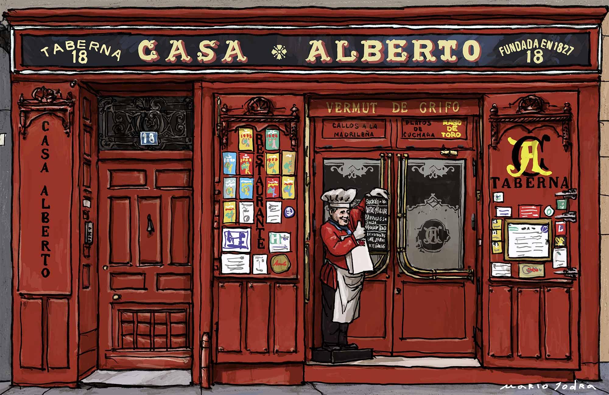 Mario Jodra illustration Art - Casa Alberto. Madrid taverns. Since 1827