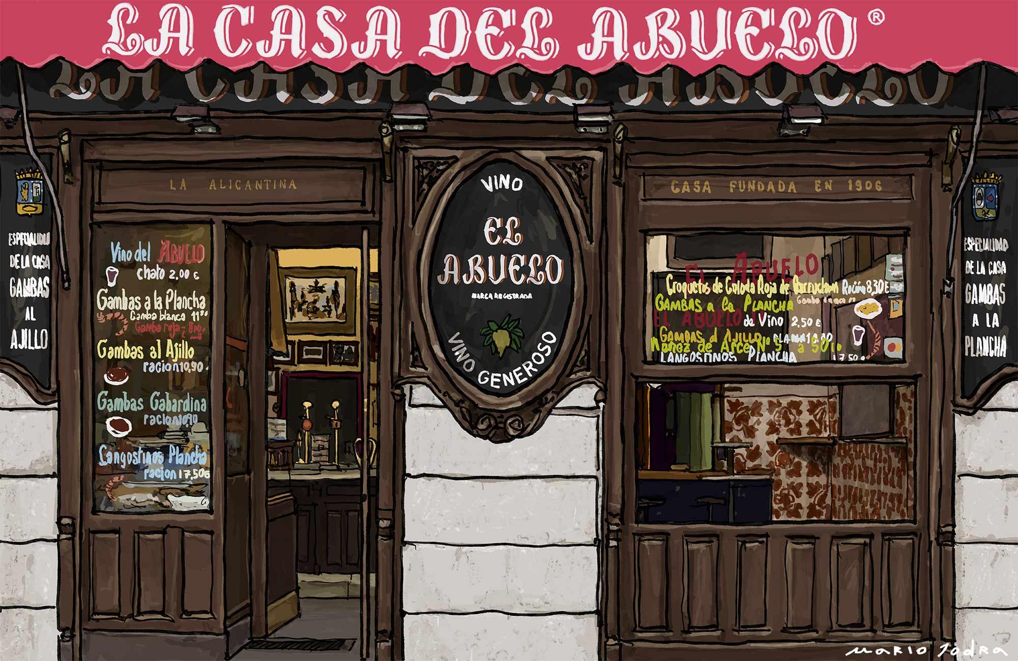 Mario Jodra illustration Art - La Casa Del Abuelo. Madrid tavern. Since 1906.