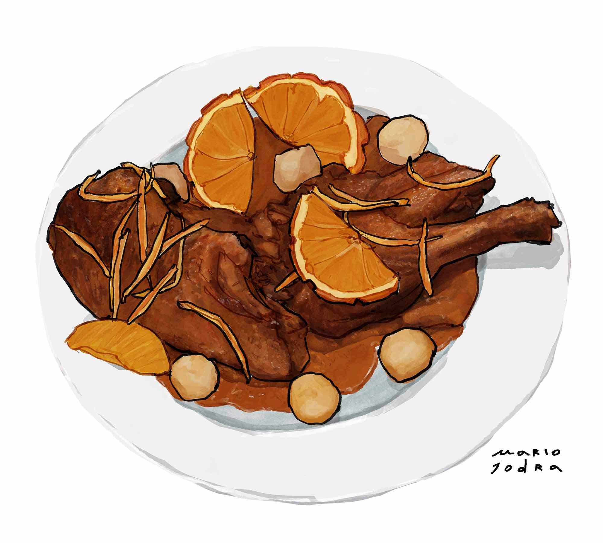 Mario Jodra illustration Art - Lhardy: Pato silvestre al perfume de naranja