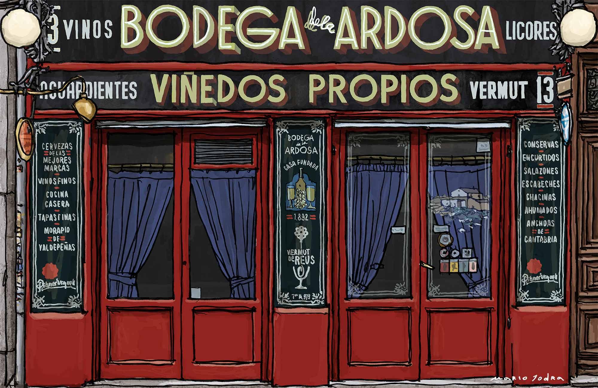 Mario Jodra illustration Art - Bodega de la Ardosa. Madrid tavern. Since 1892