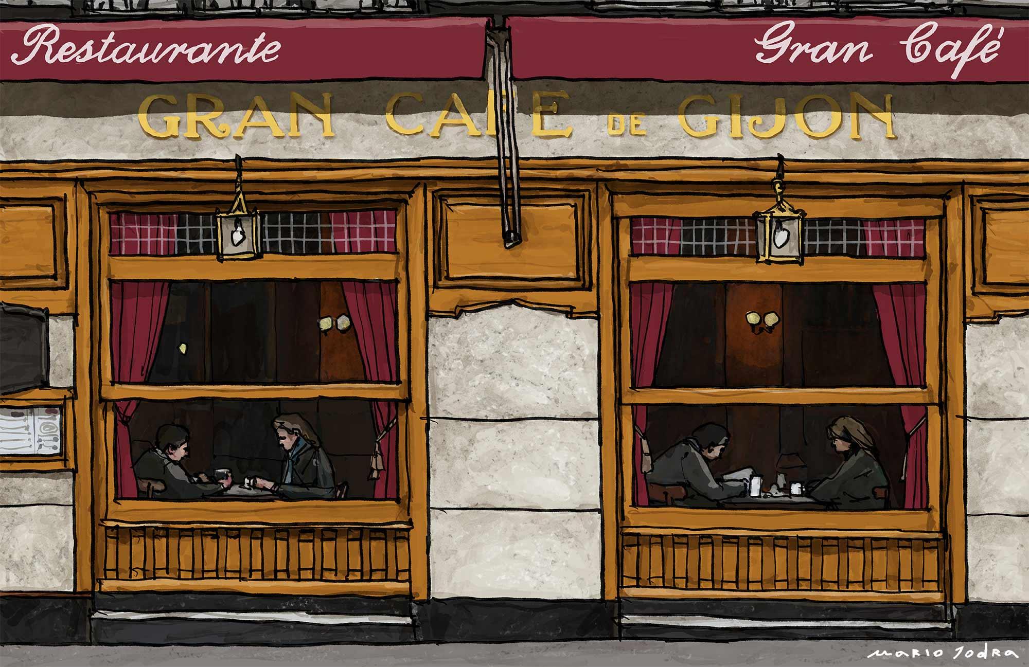 Mario Jodra illustration Art - Café Gijón. Madrid tavern. Since 1888