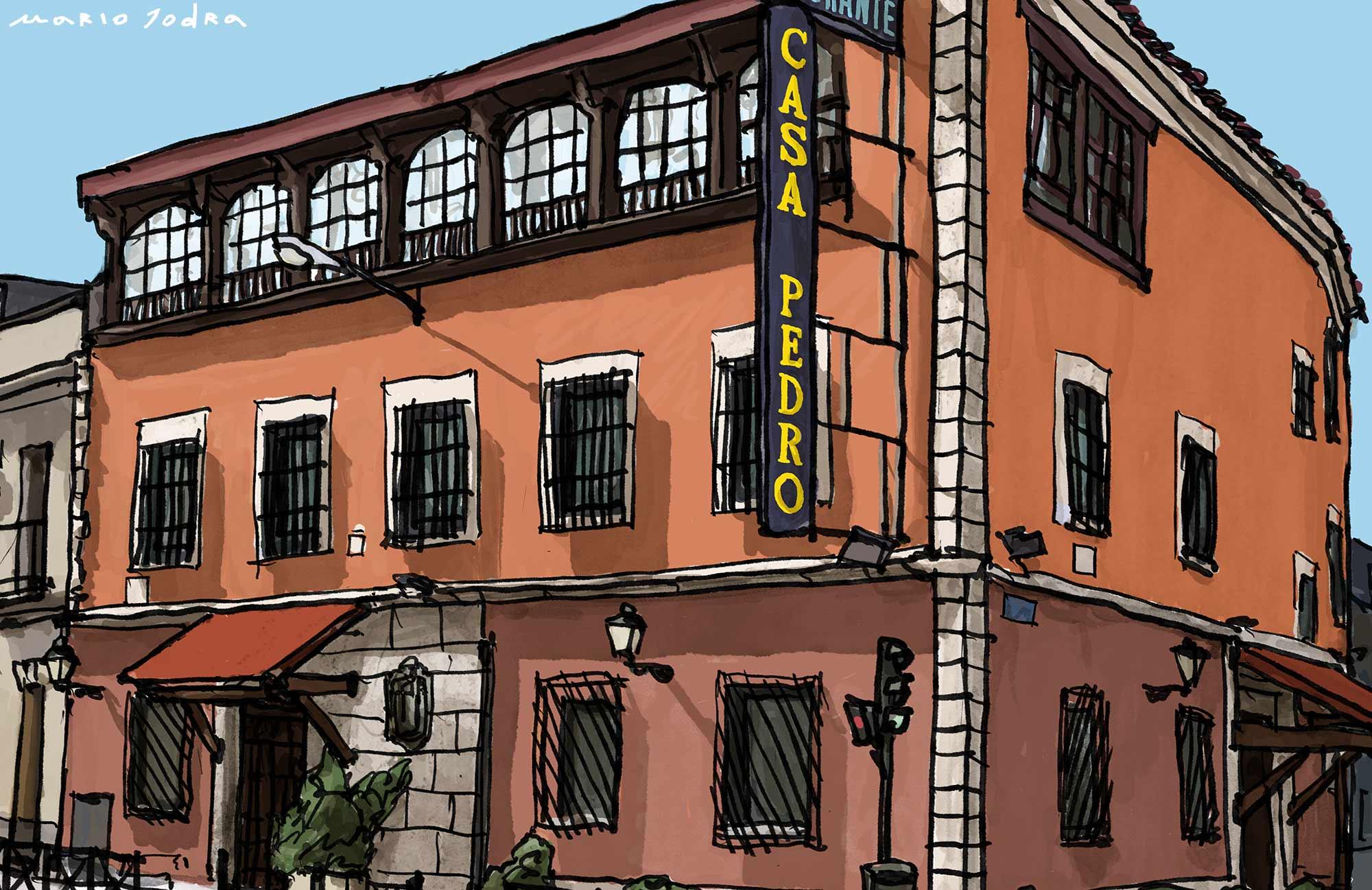 Mario Jodra illustration Art - Casa Pedro, Madrid tavern. Since 1702