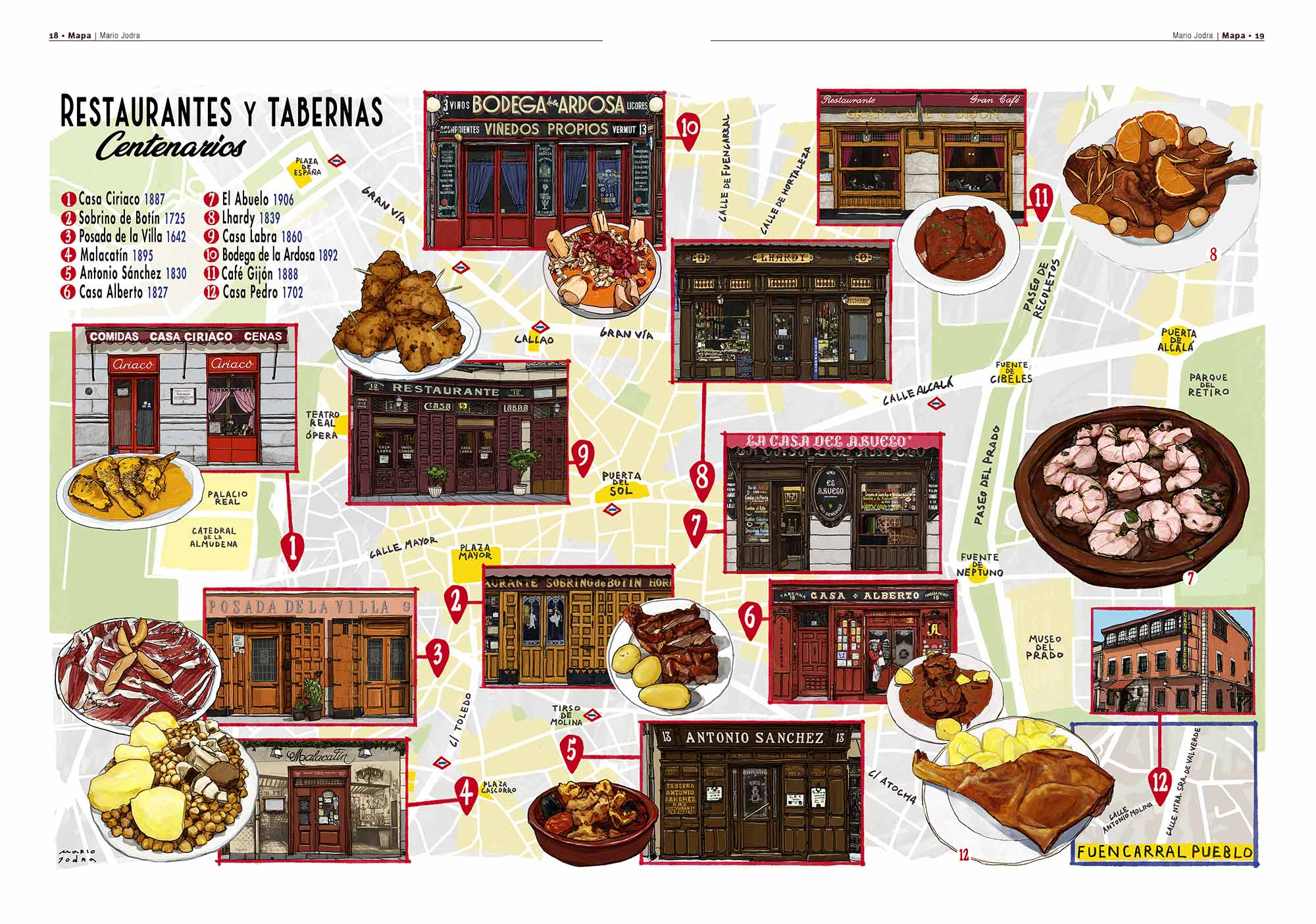 Mario Jodra illustration Art - Map for eme21, an illustrated cultural magazine. The map was used for a campaign of tourist and gastronomic guides of the Madrid City Council