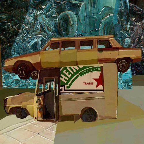 "Mario Jodra illustration Art - The Automobile Graveyard (""Cementerio de Automóviles"", ""Le cimetière des voitures"") by Fernando ArrabalMario Jodra illustration Art -"