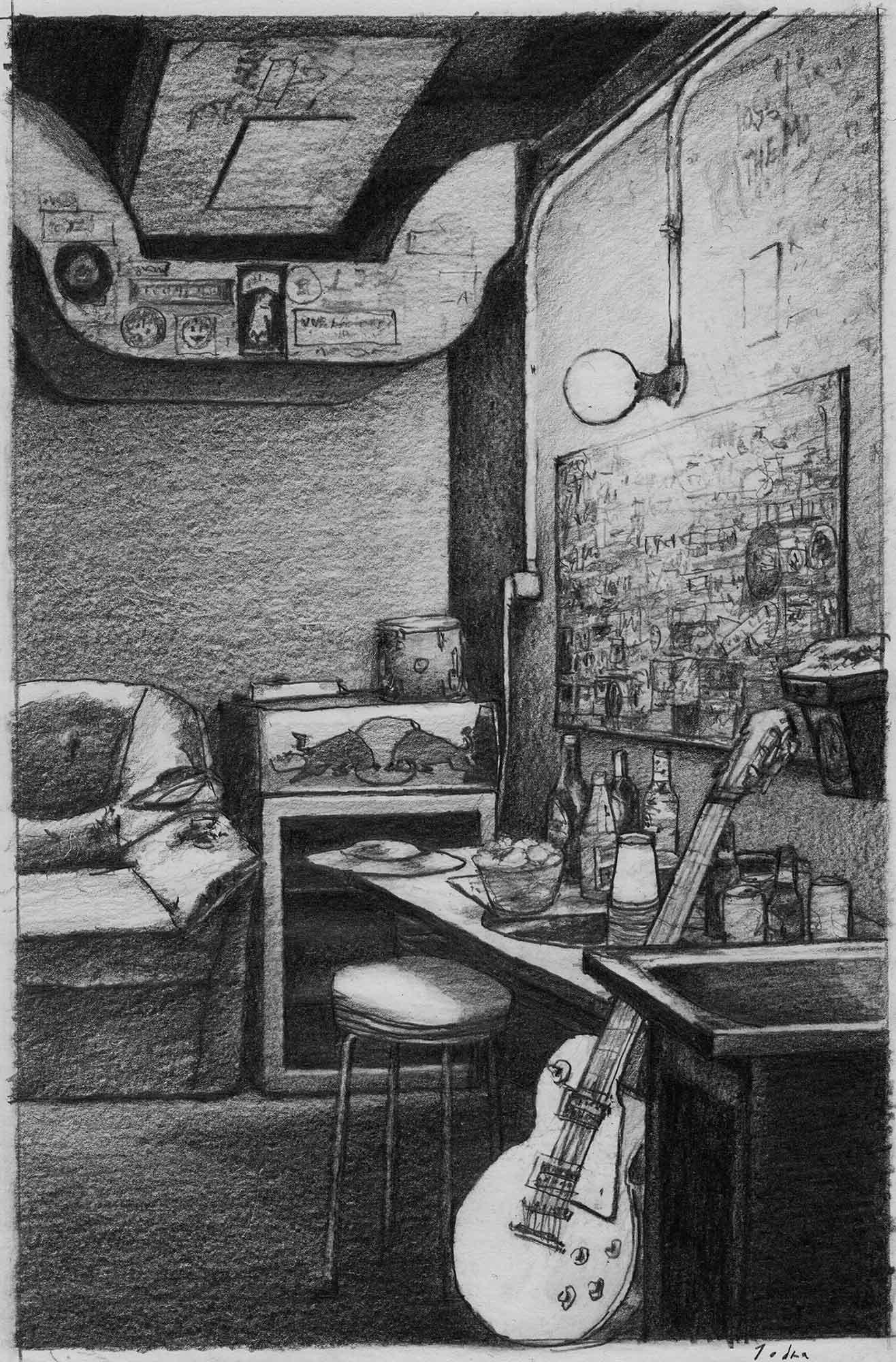 Mario Jodra Book Cover Art Sketch - Toma de tierra